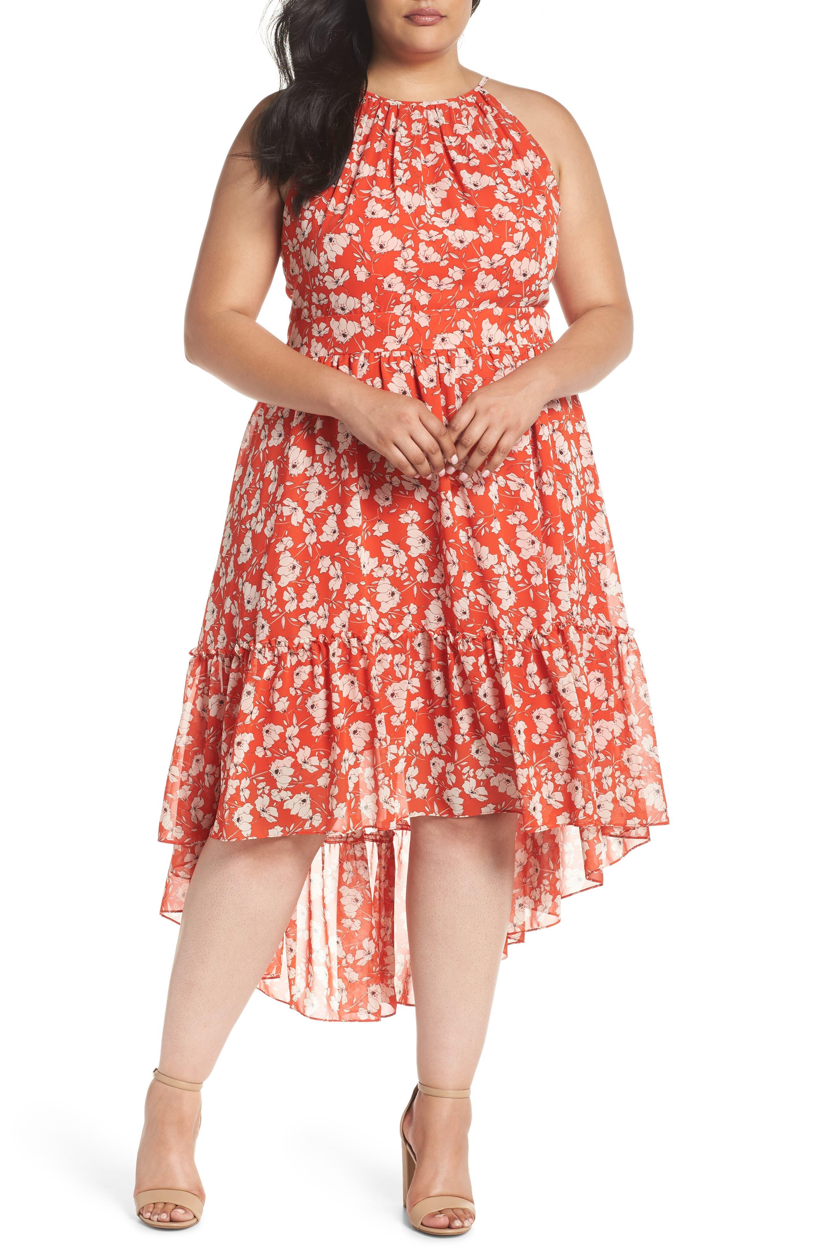 Ruffle Hem Halter Neck Chiffon Dress,                         Main,                         color, 600