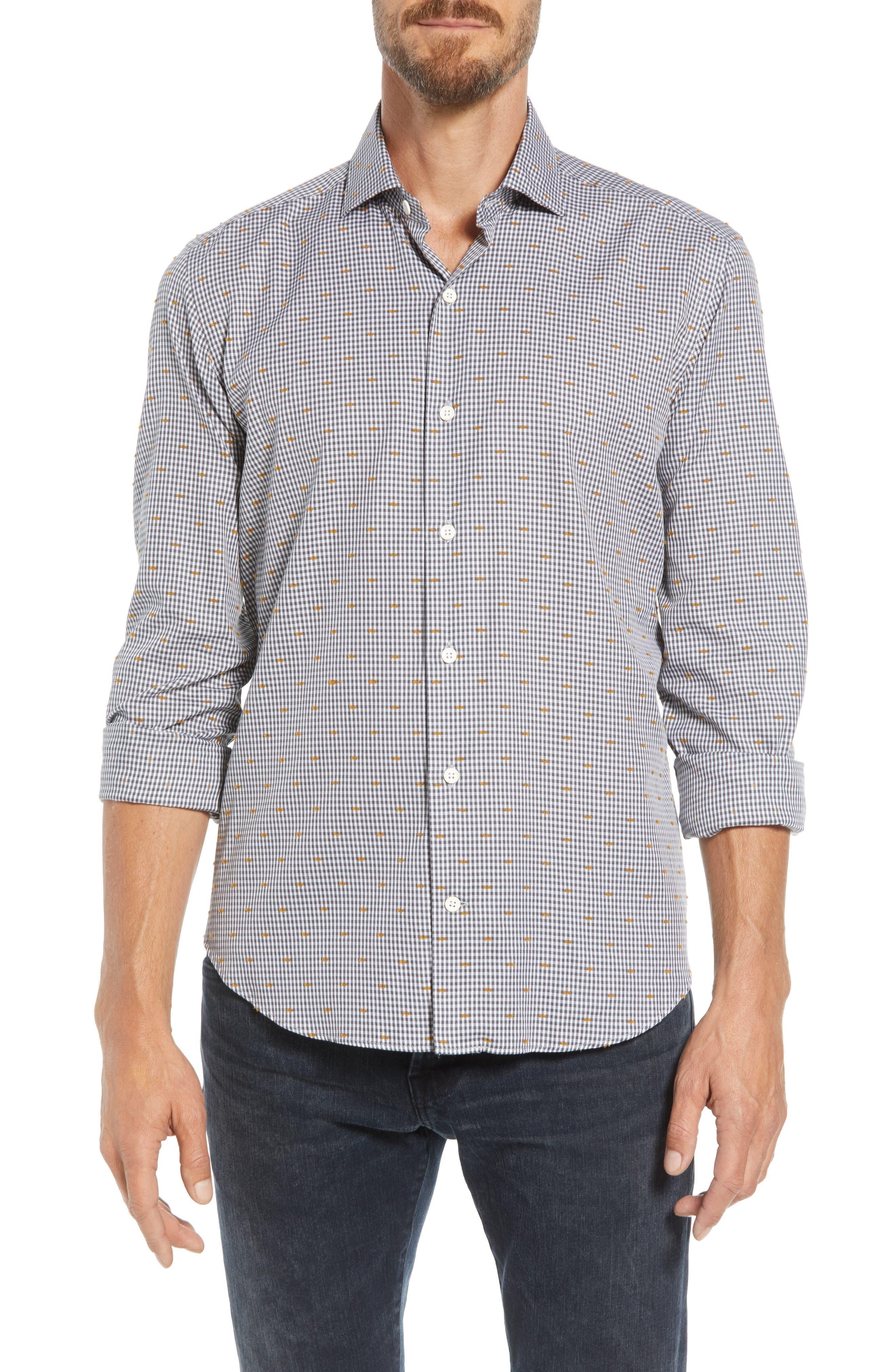 CULTURATA Coupé Dot Tailored Fit Gingham Sport Shirt, Main, color, 020