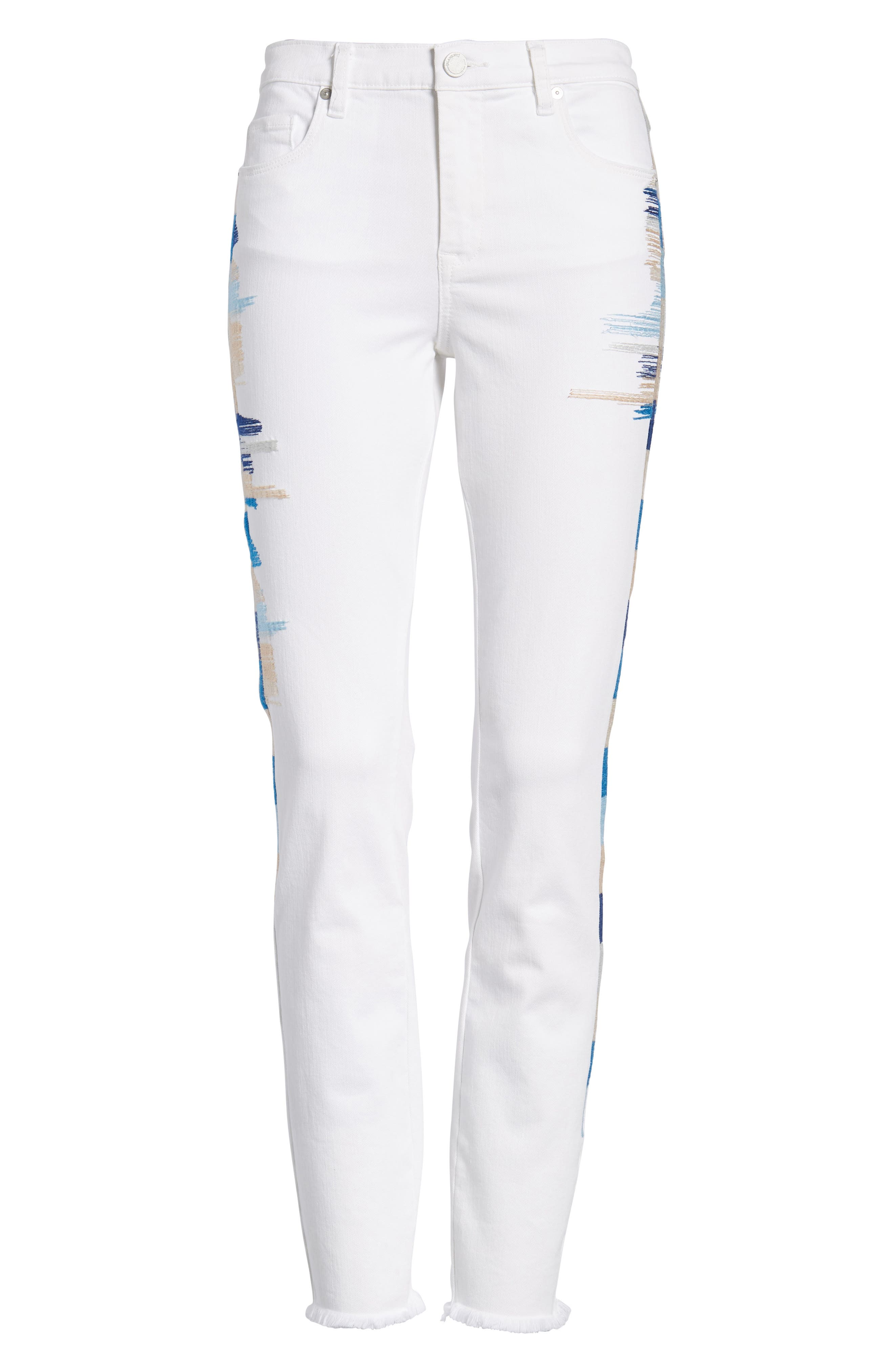 Bond Embroidered Skinny Jeans,                             Alternate thumbnail 7, color,                             110