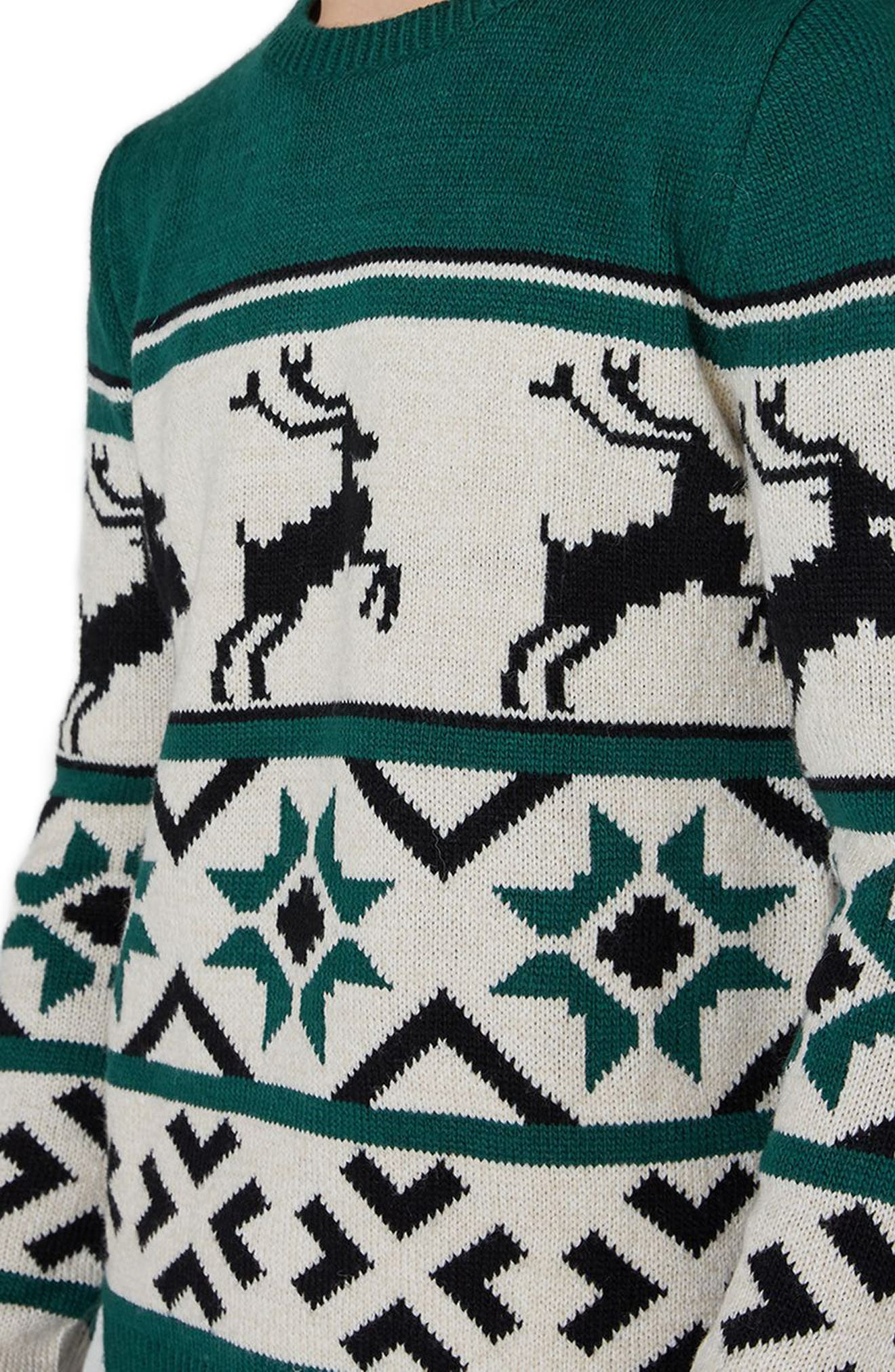 Fair Isle Reindeer Sweater,                             Alternate thumbnail 4, color,                             300