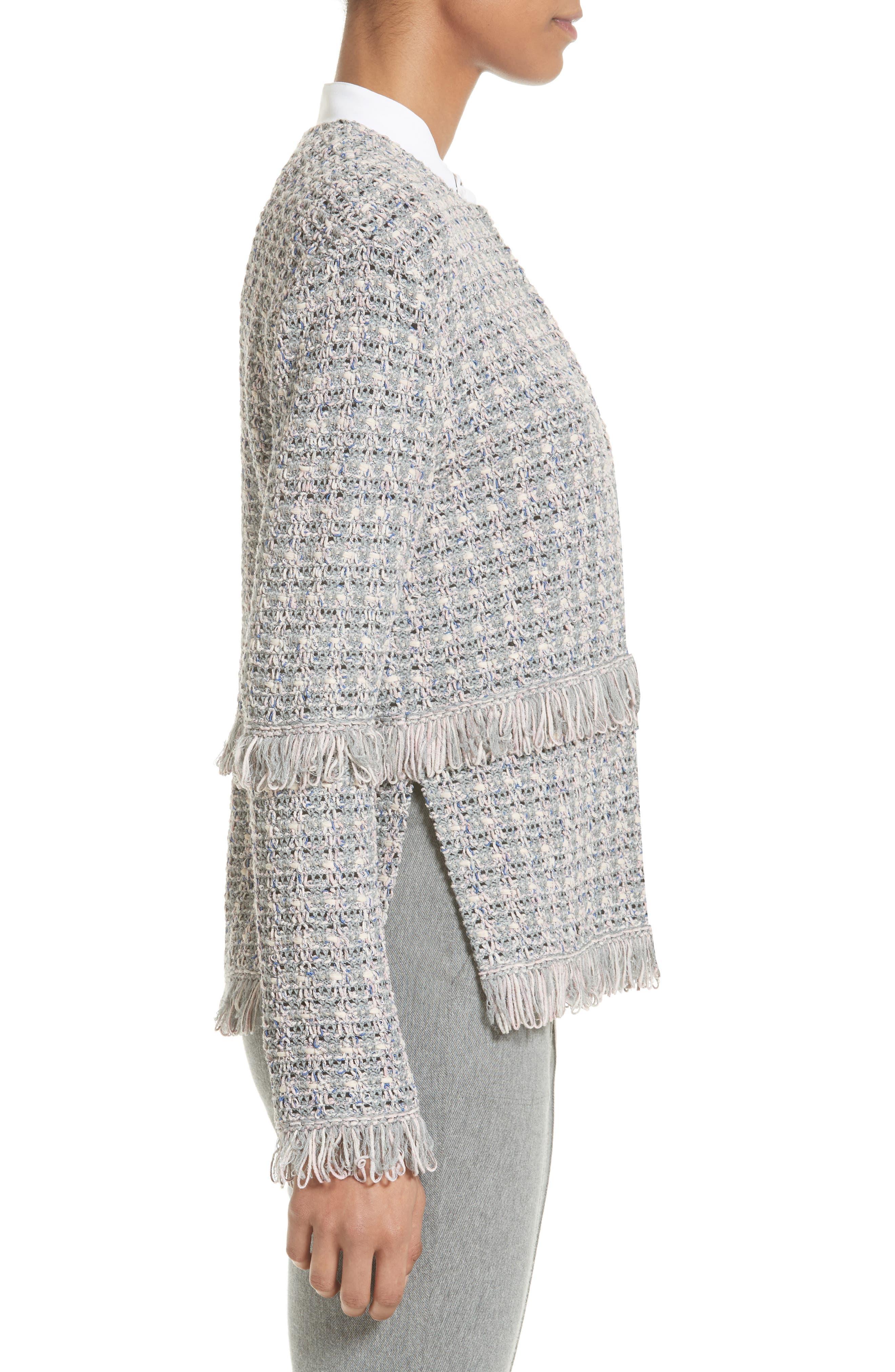 Textural Powder Tweed Jacket,                             Alternate thumbnail 4, color,                             020