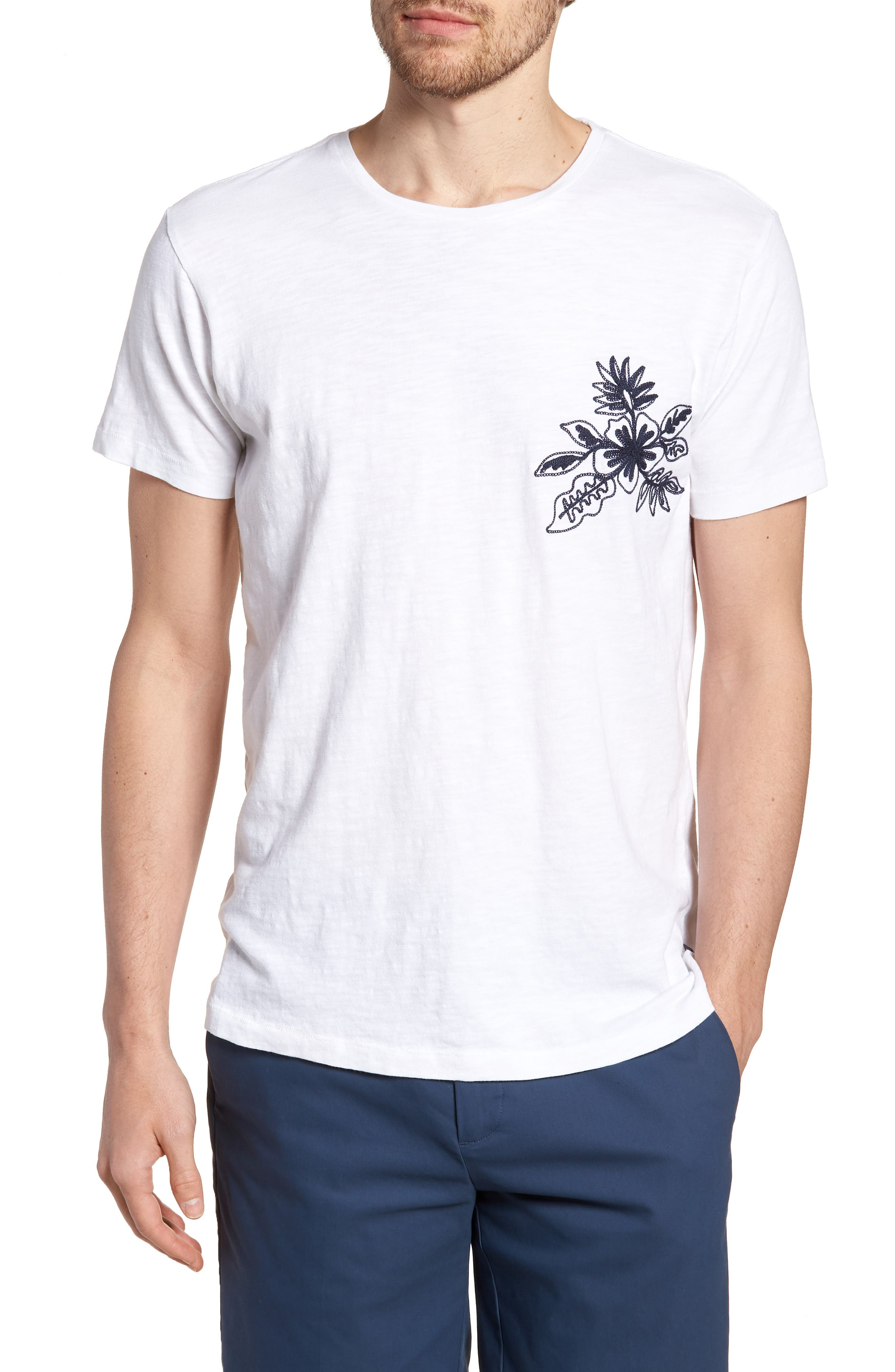 Embroidered T-Shirt,                         Main,                         color, 100