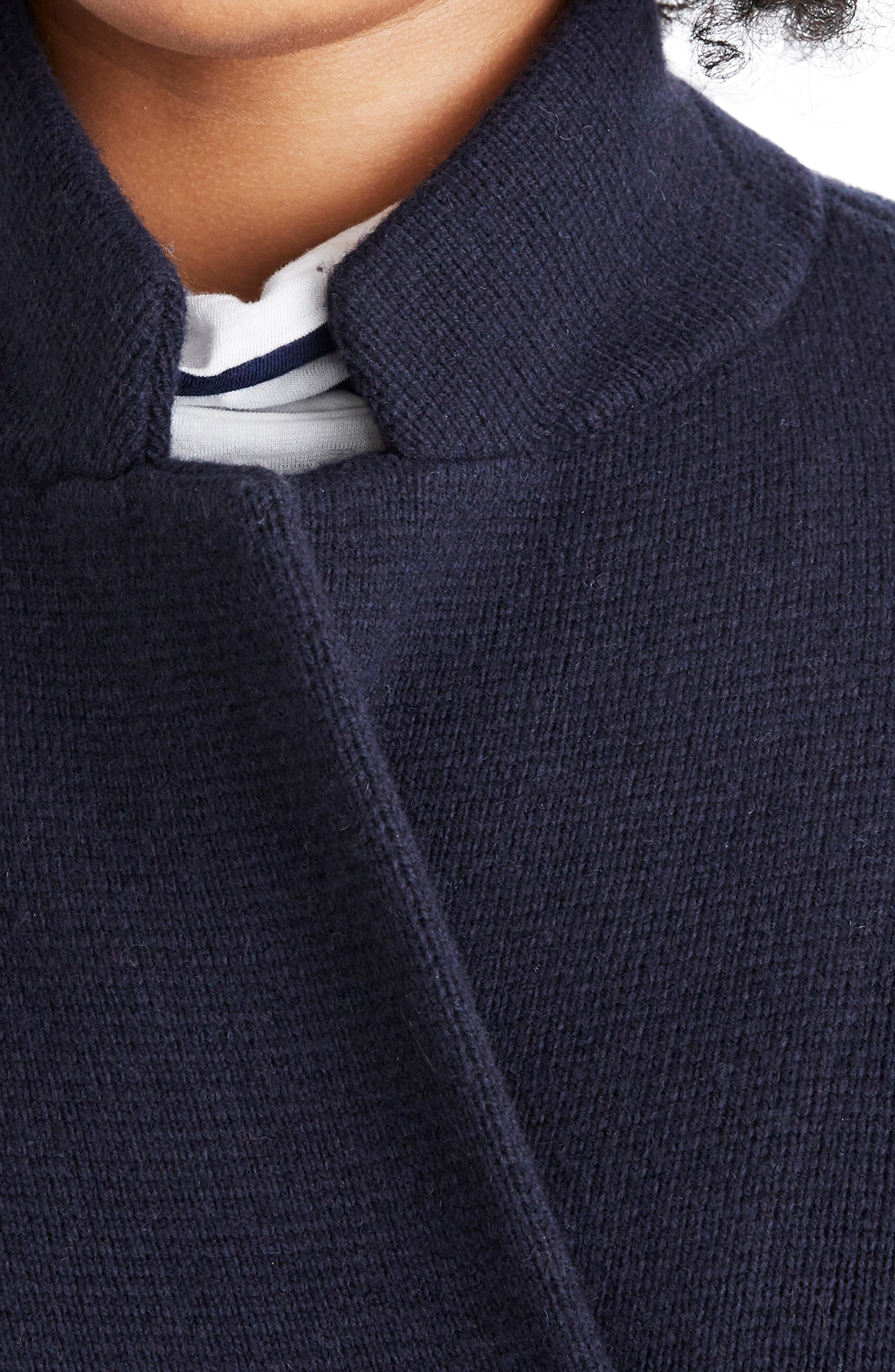 Double Breasted Sweater Coat,                             Alternate thumbnail 7, color,                             NAUTICAL BLACK