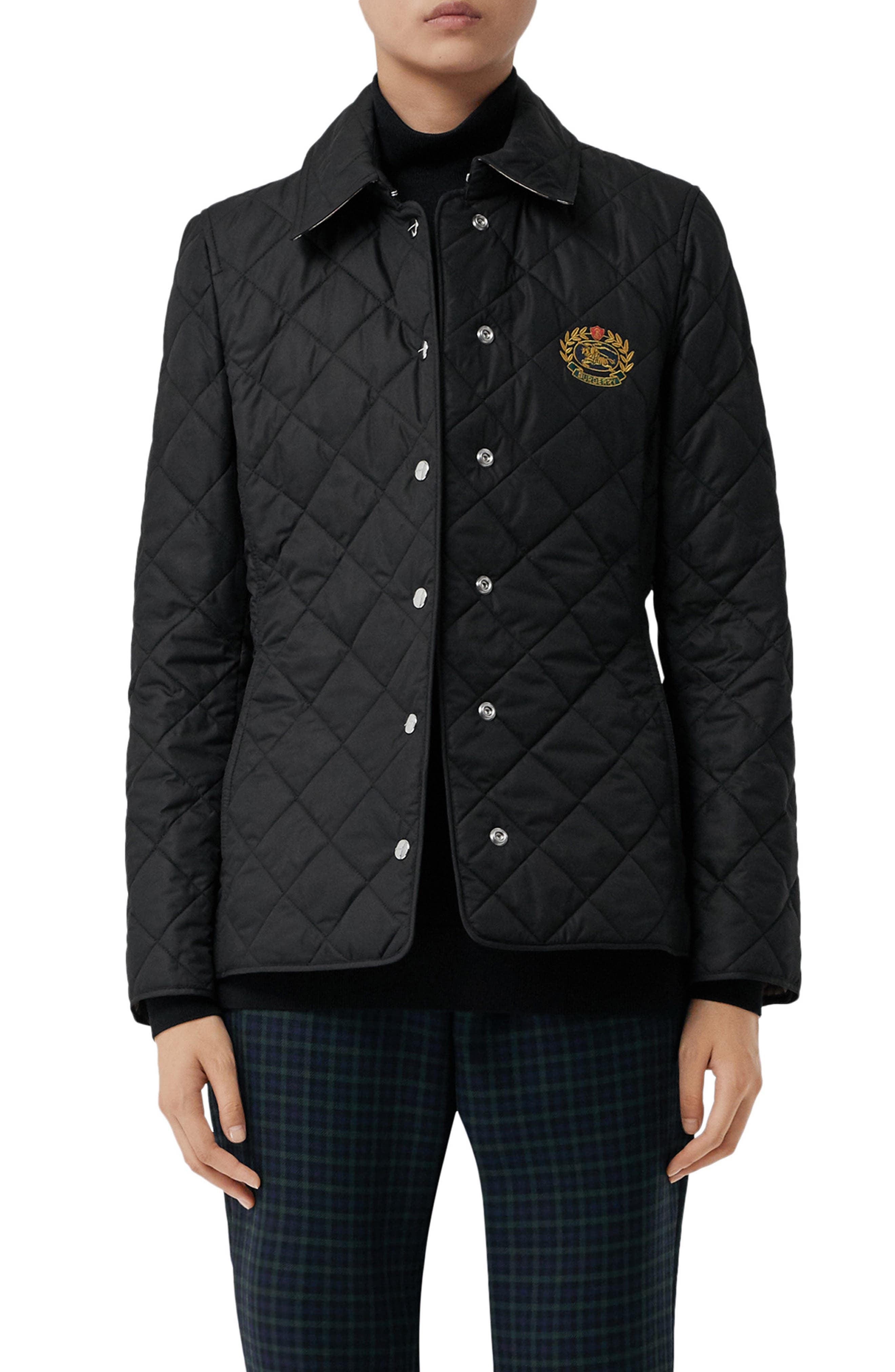 Franwell Diamond Quilted Jacket,                             Main thumbnail 1, color,                             BLACK