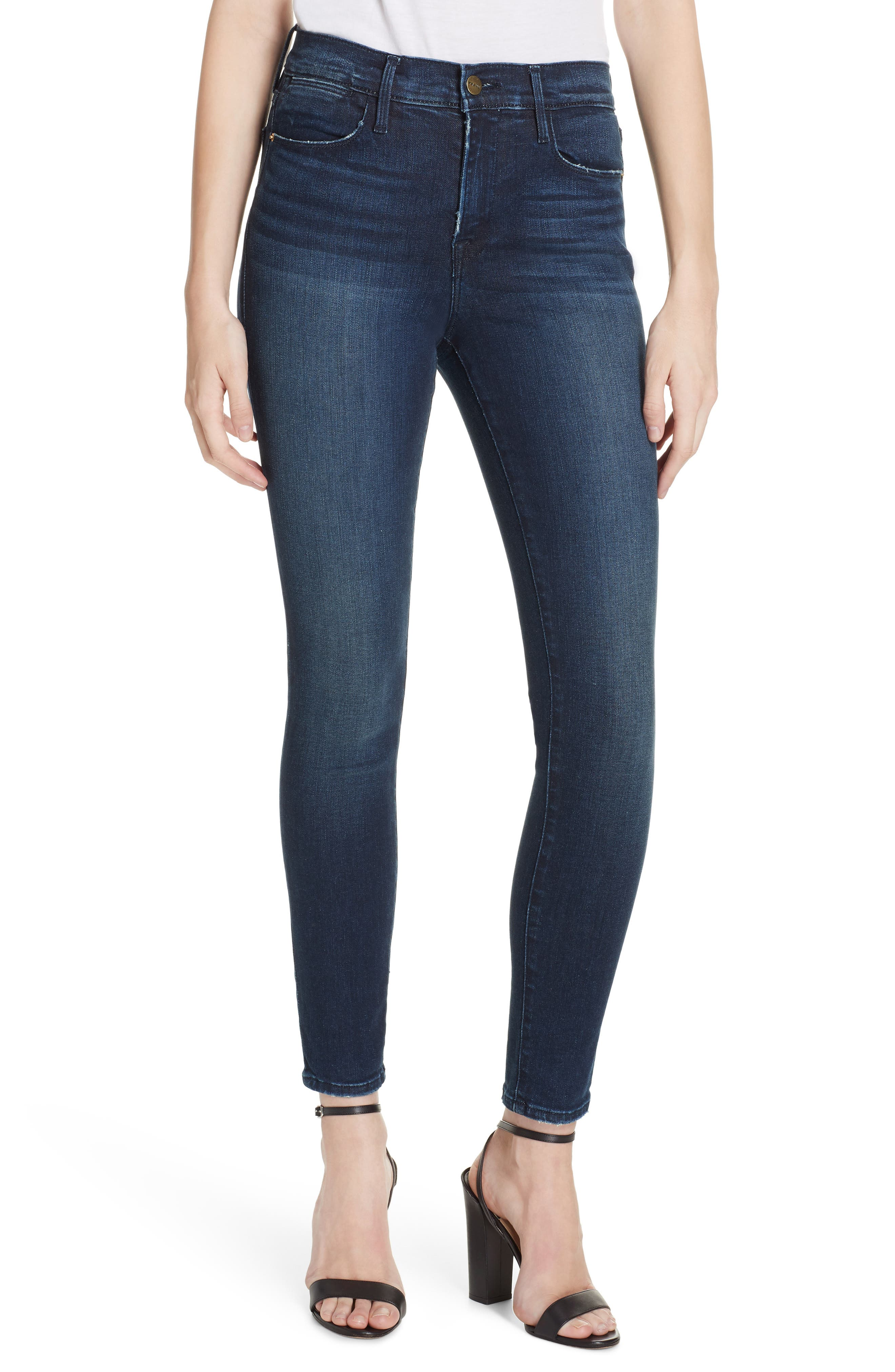 Le High Distressed Skinny Jeans,                             Main thumbnail 1, color,                             SWANK