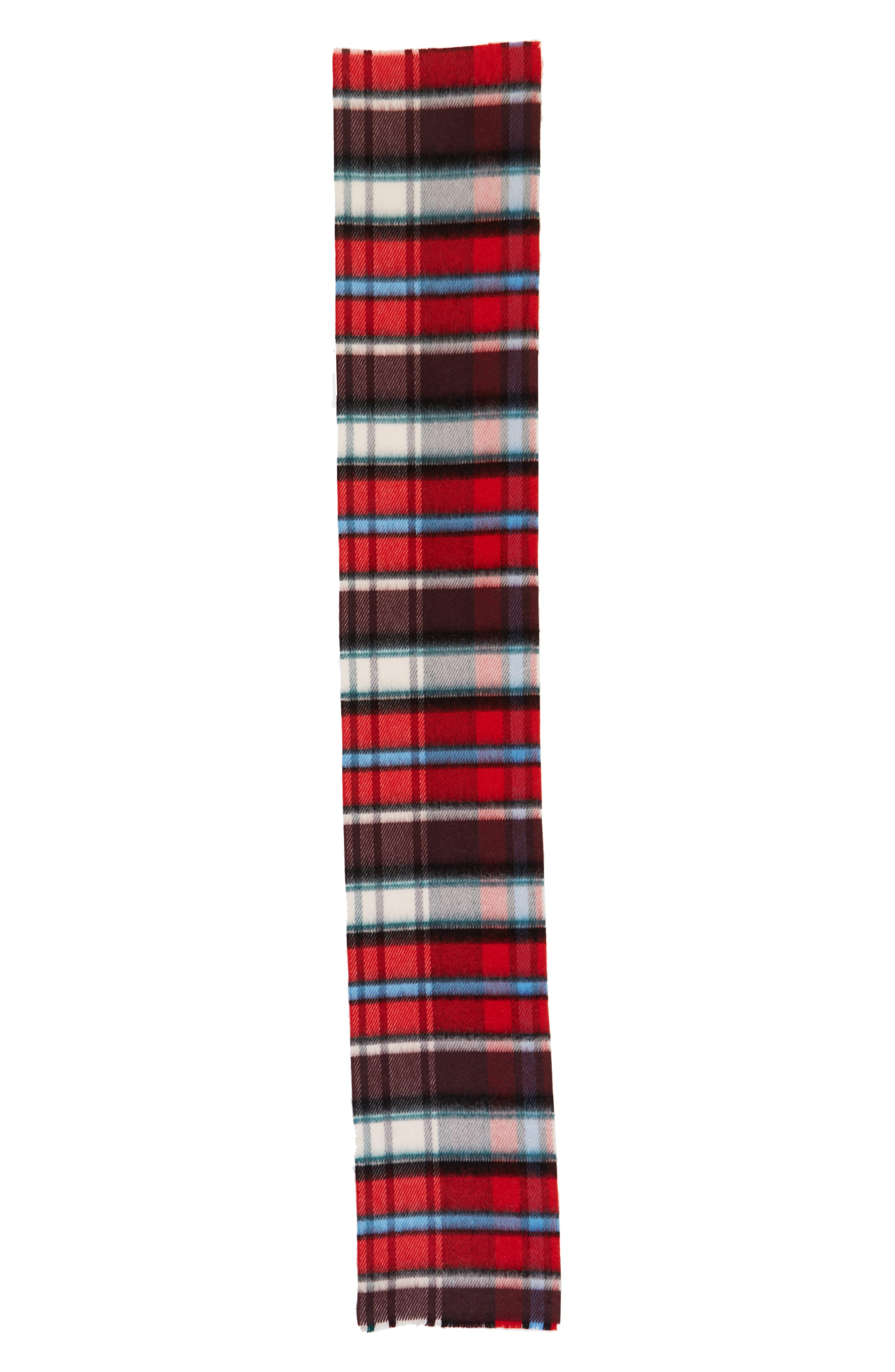 Check Wool Blend Scarf,                         Main,                         color, BRIGHT RED