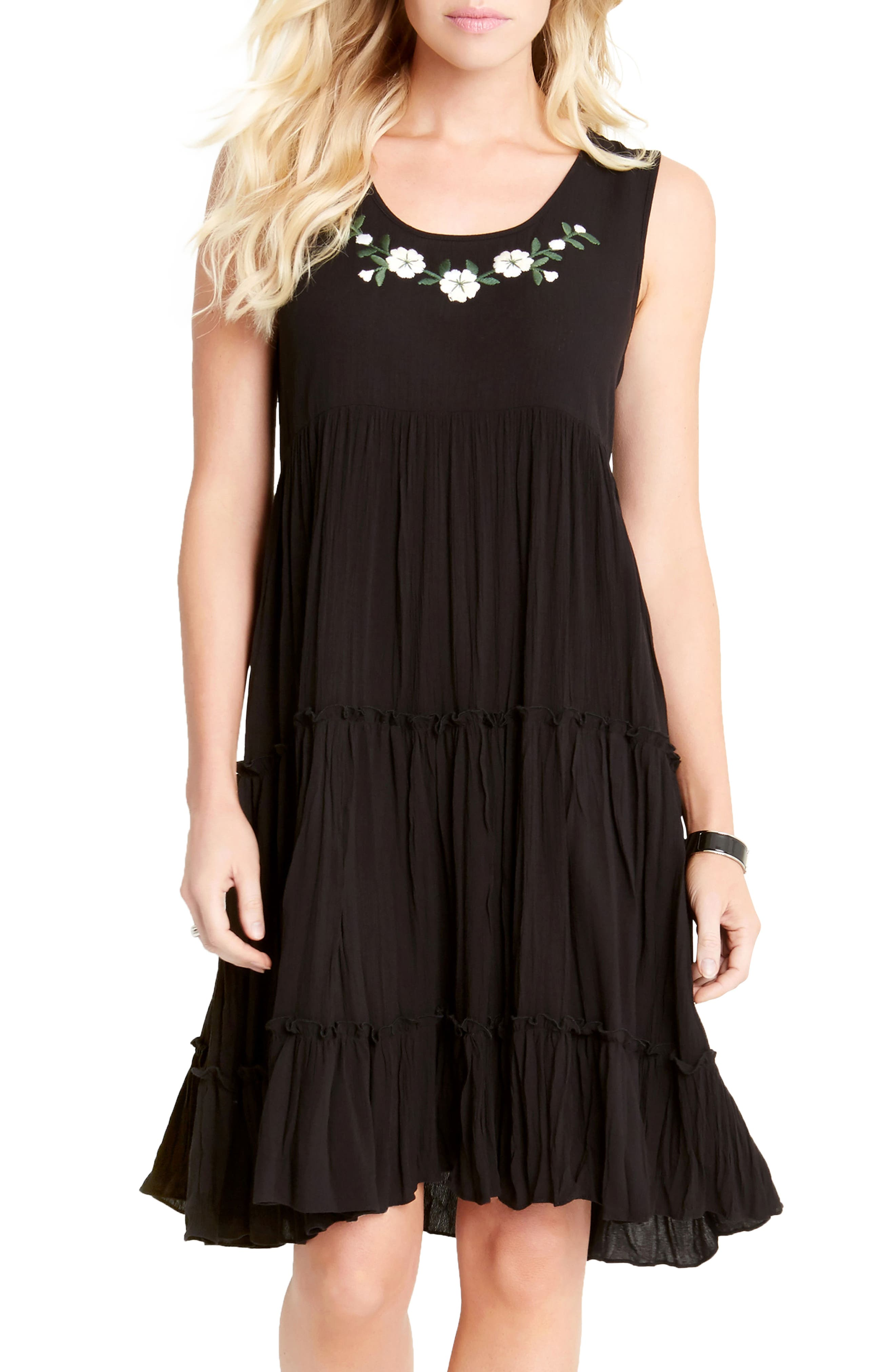 Embroidered Tiered A-Line Dress,                             Alternate thumbnail 3, color,                             001