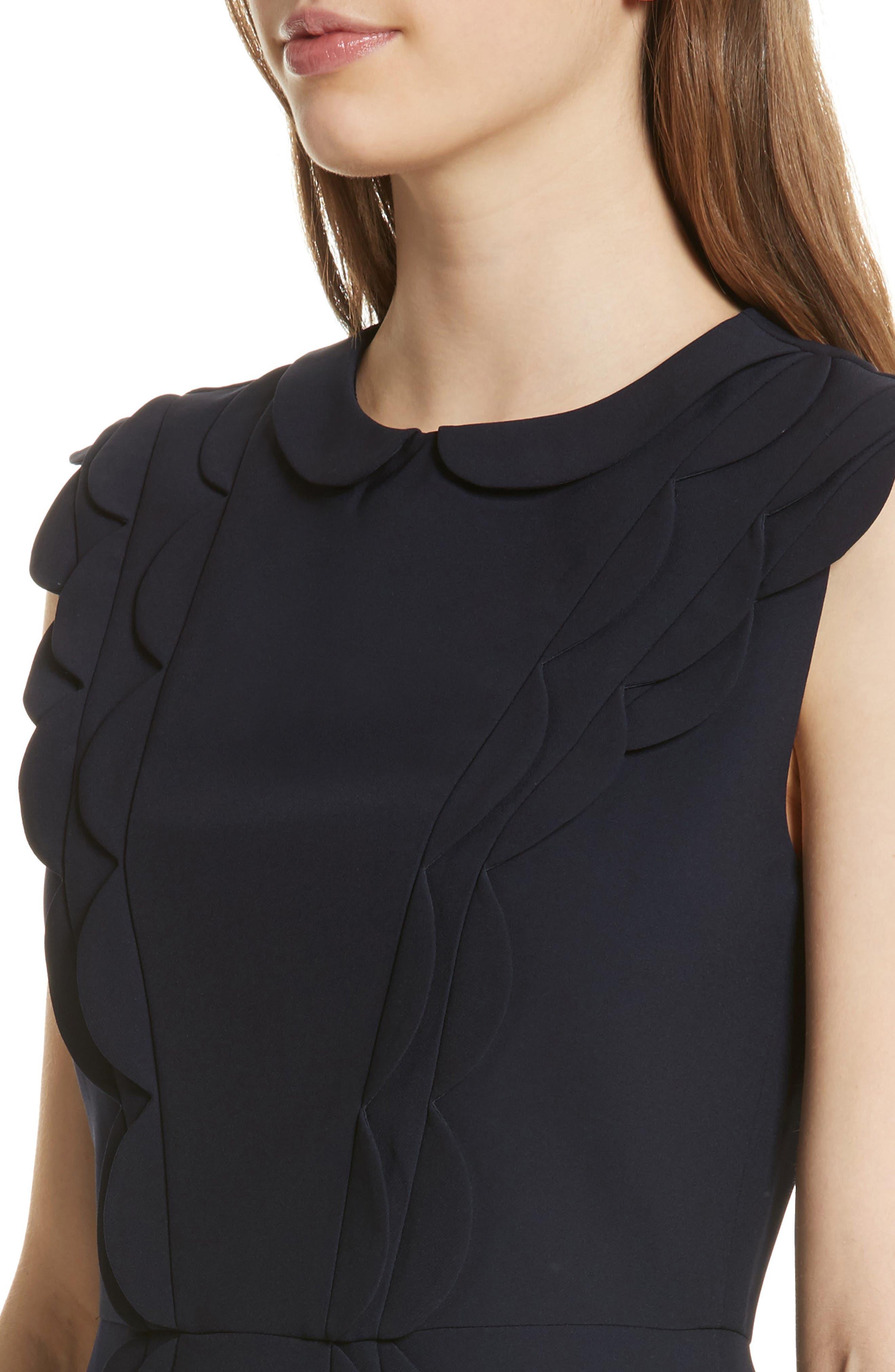 Scalloped Panel Fit & Flare Dress,                             Alternate thumbnail 4, color,                             402