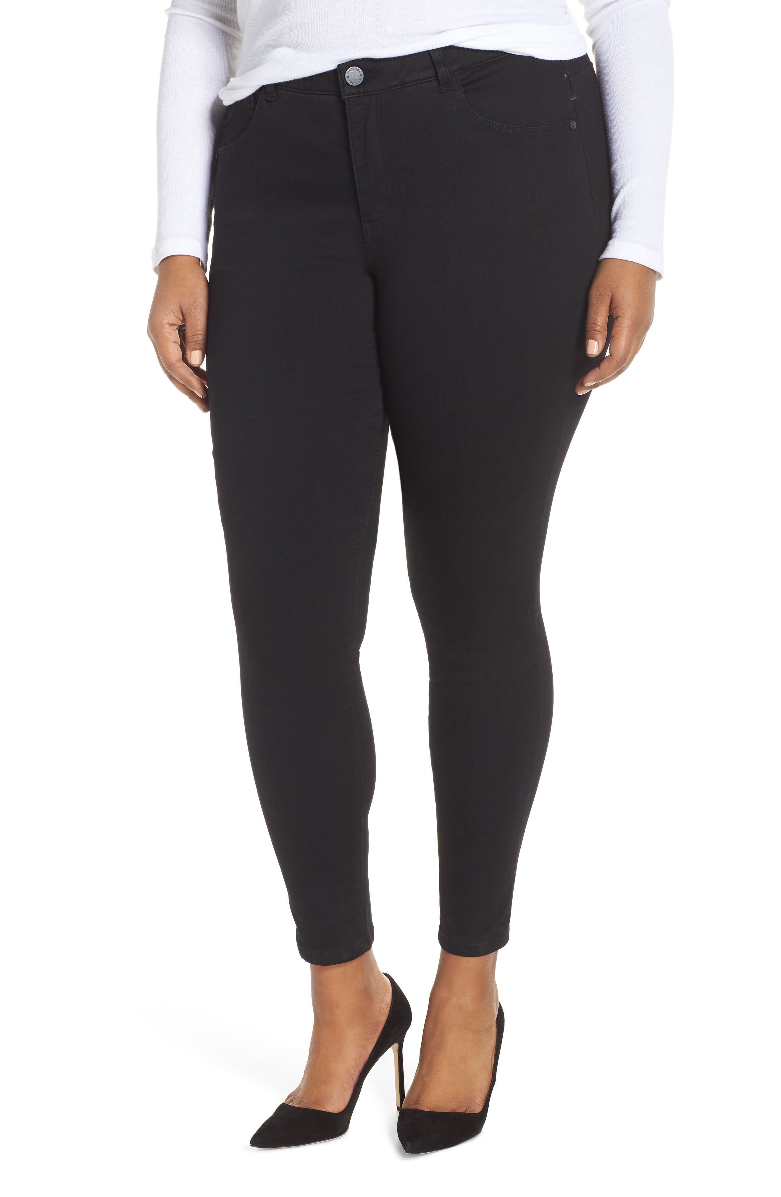 WIT & WISDOM 30/11 Ab-solution High Waist Skinny Jeans, Main, color, BLACK