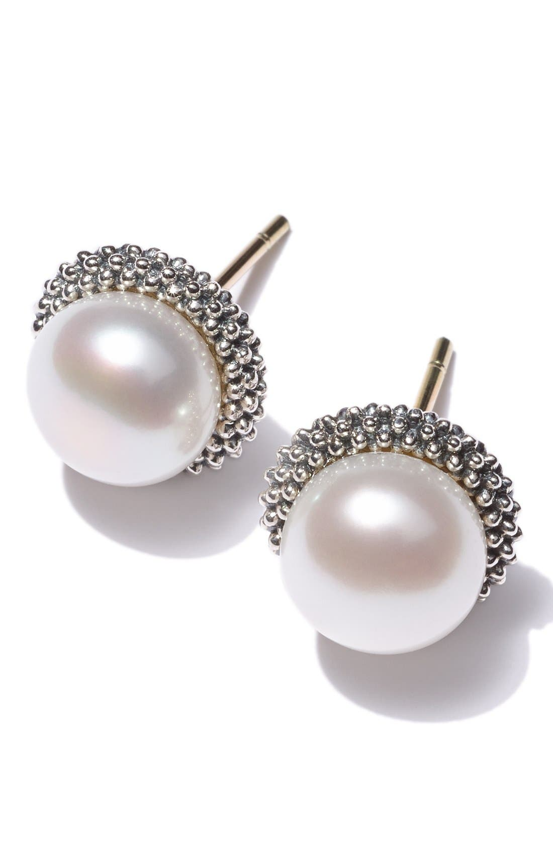 'Luna' Pearl Small Stud Earrings,                             Alternate thumbnail 6, color,                             SILVER/ PEARL
