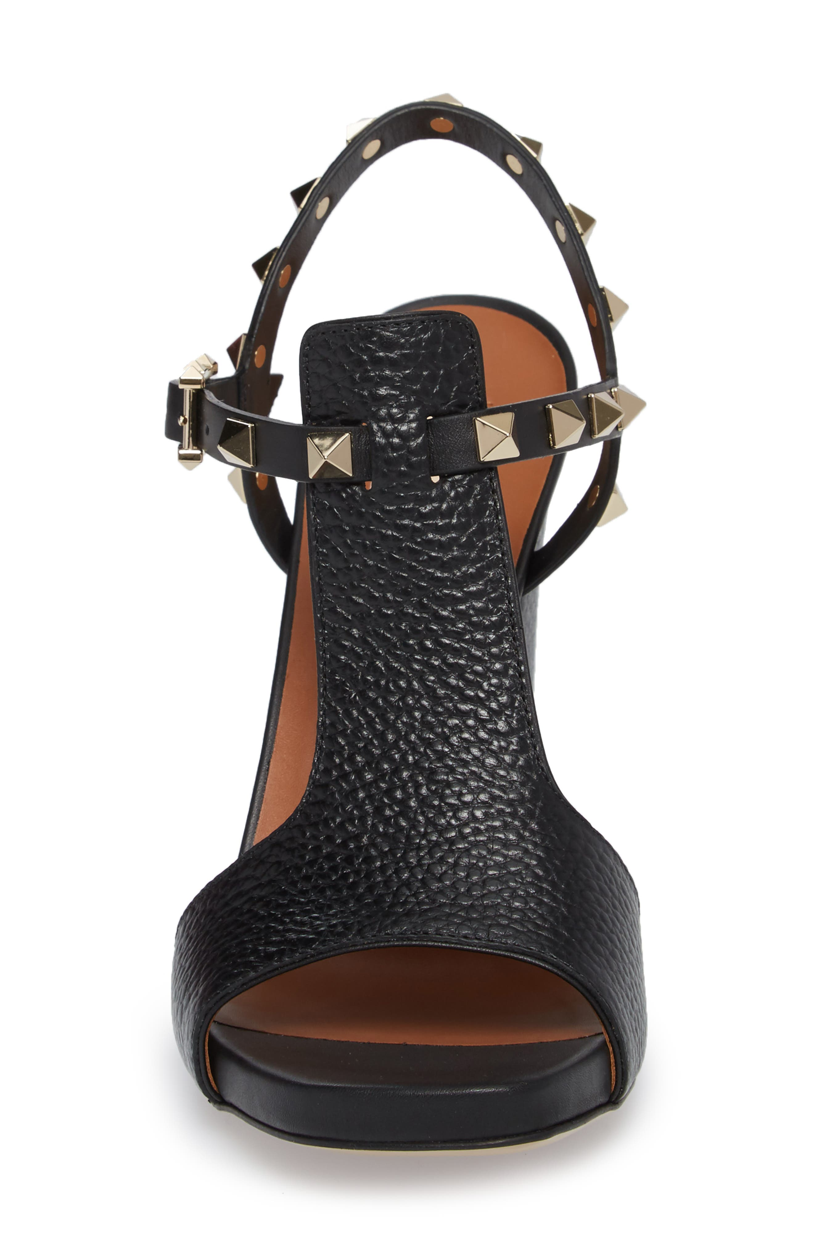 Rockstud T-Strap Sandal,                             Alternate thumbnail 4, color,                             BLACK LEATHER