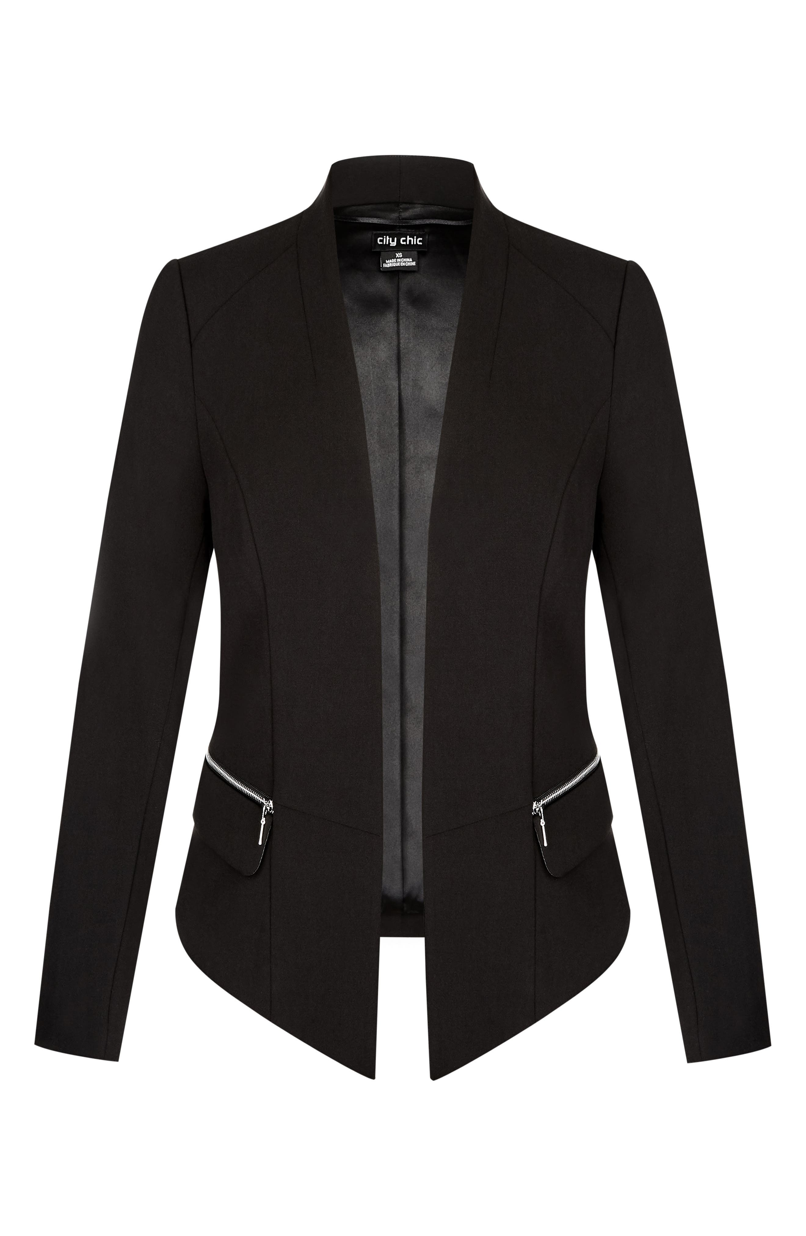 Elegance Fitted Jacket,                             Alternate thumbnail 3, color,                             001