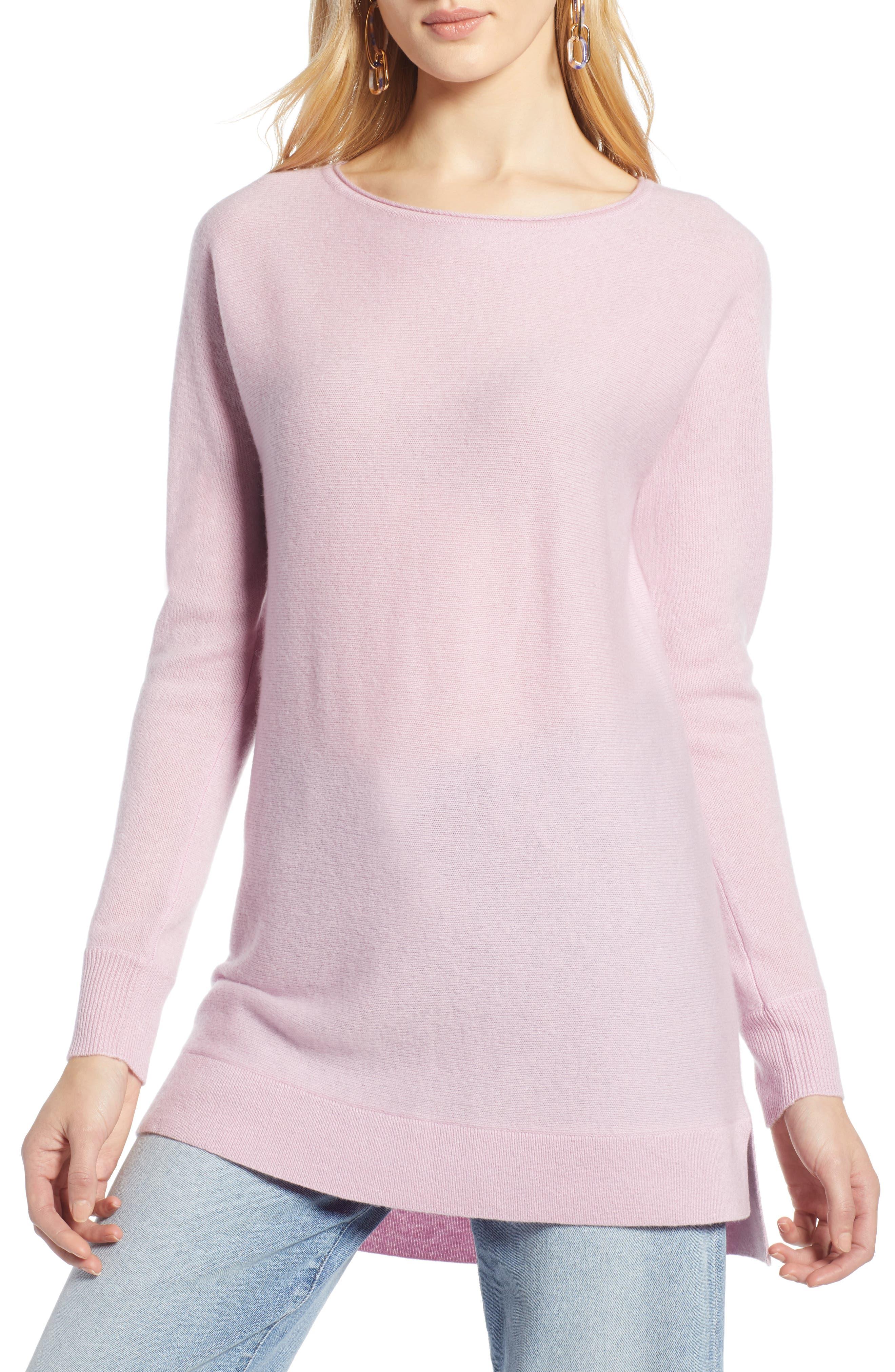 Halogen High/low Wool & Cashmere Tunic Sweater, Purple