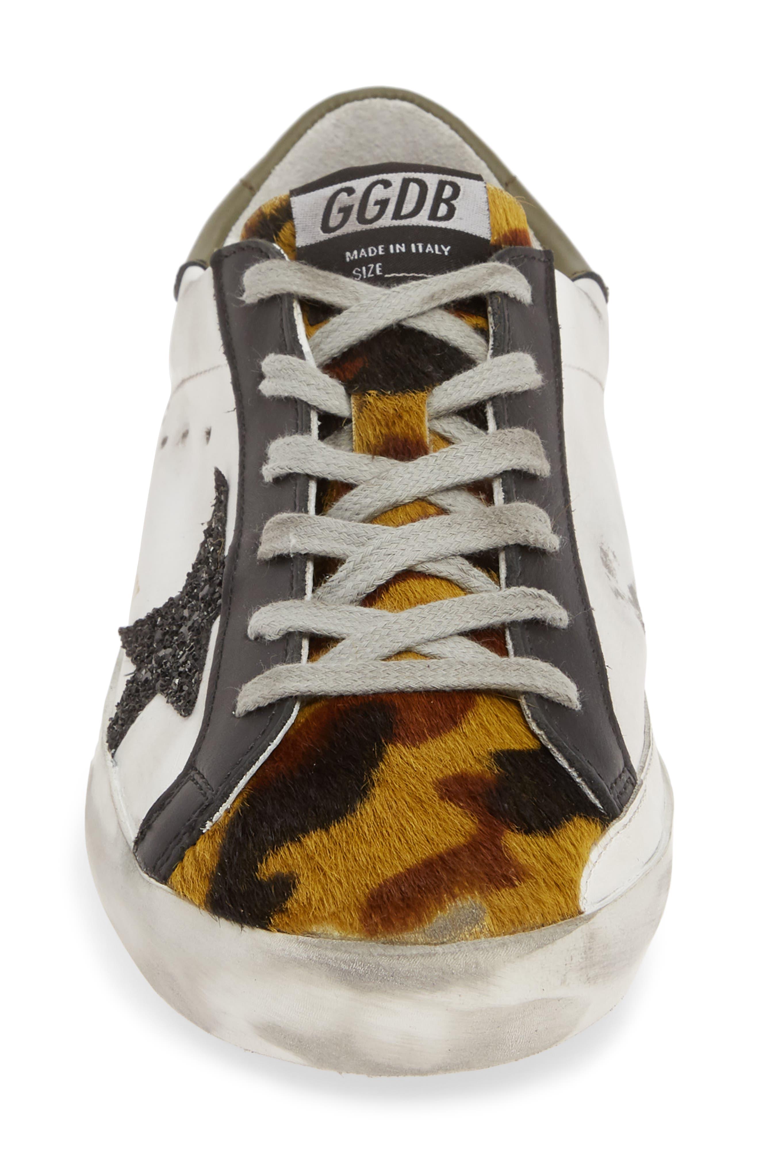 GOLDEN GOOSE,                             Superstar Genuine Calf Hair Sneaker,                             Alternate thumbnail 4, color,                             WHITE/ CAMO