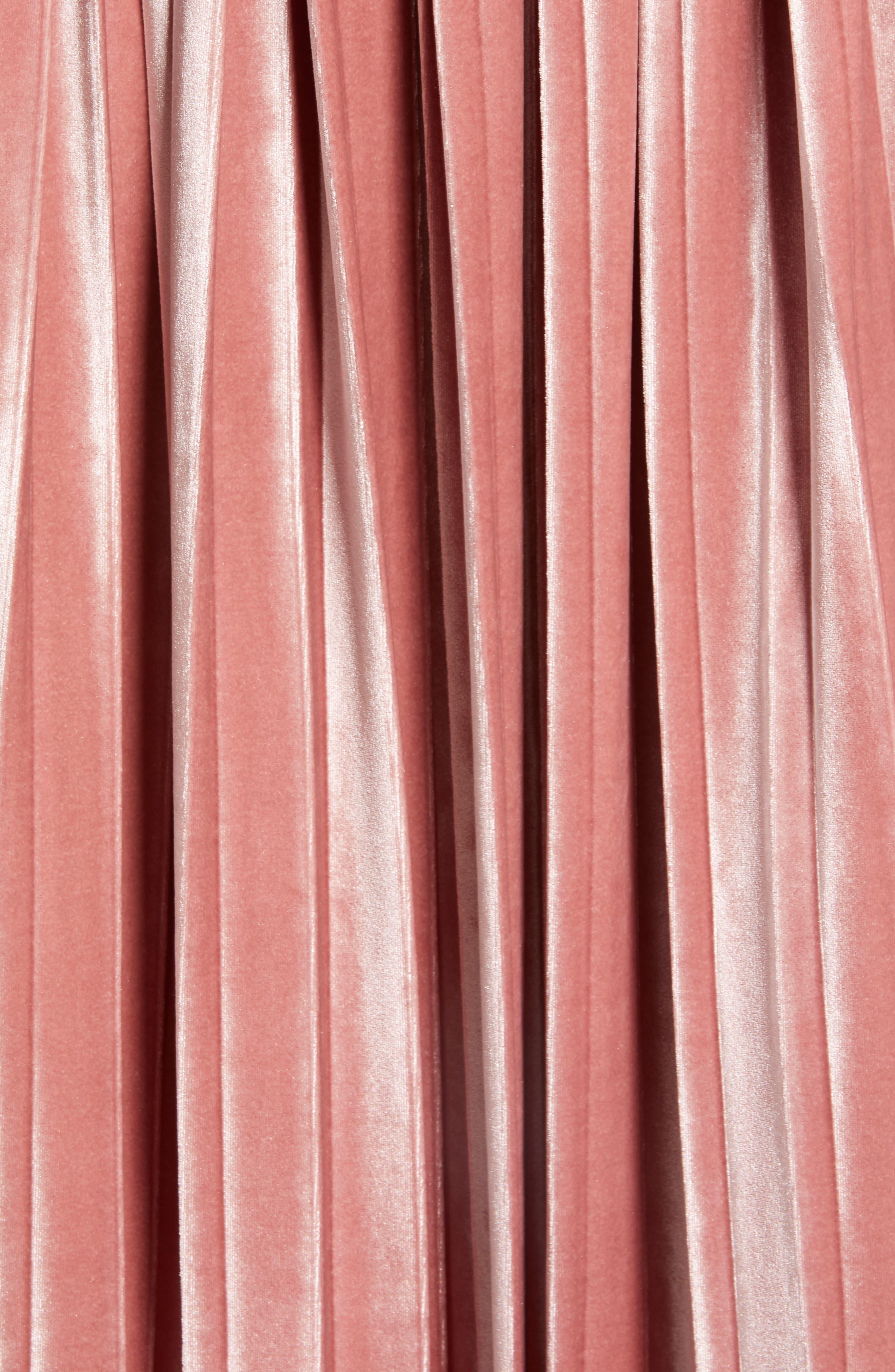 Velvet Pleated Midi Skirt,                             Alternate thumbnail 5, color,                             PINK MESA