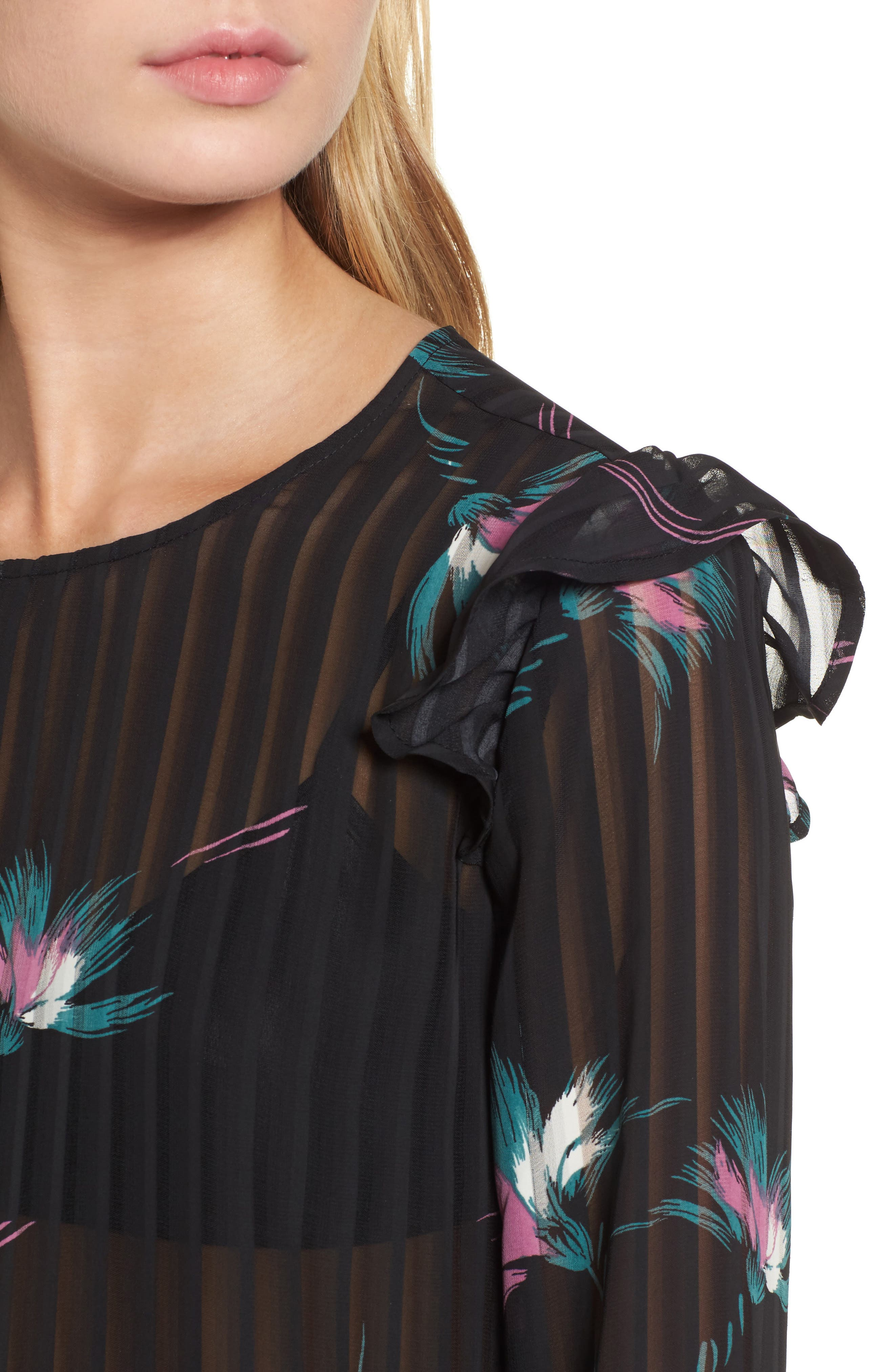 Ruffled Sheer Stripe Blouse,                             Alternate thumbnail 4, color,                             001