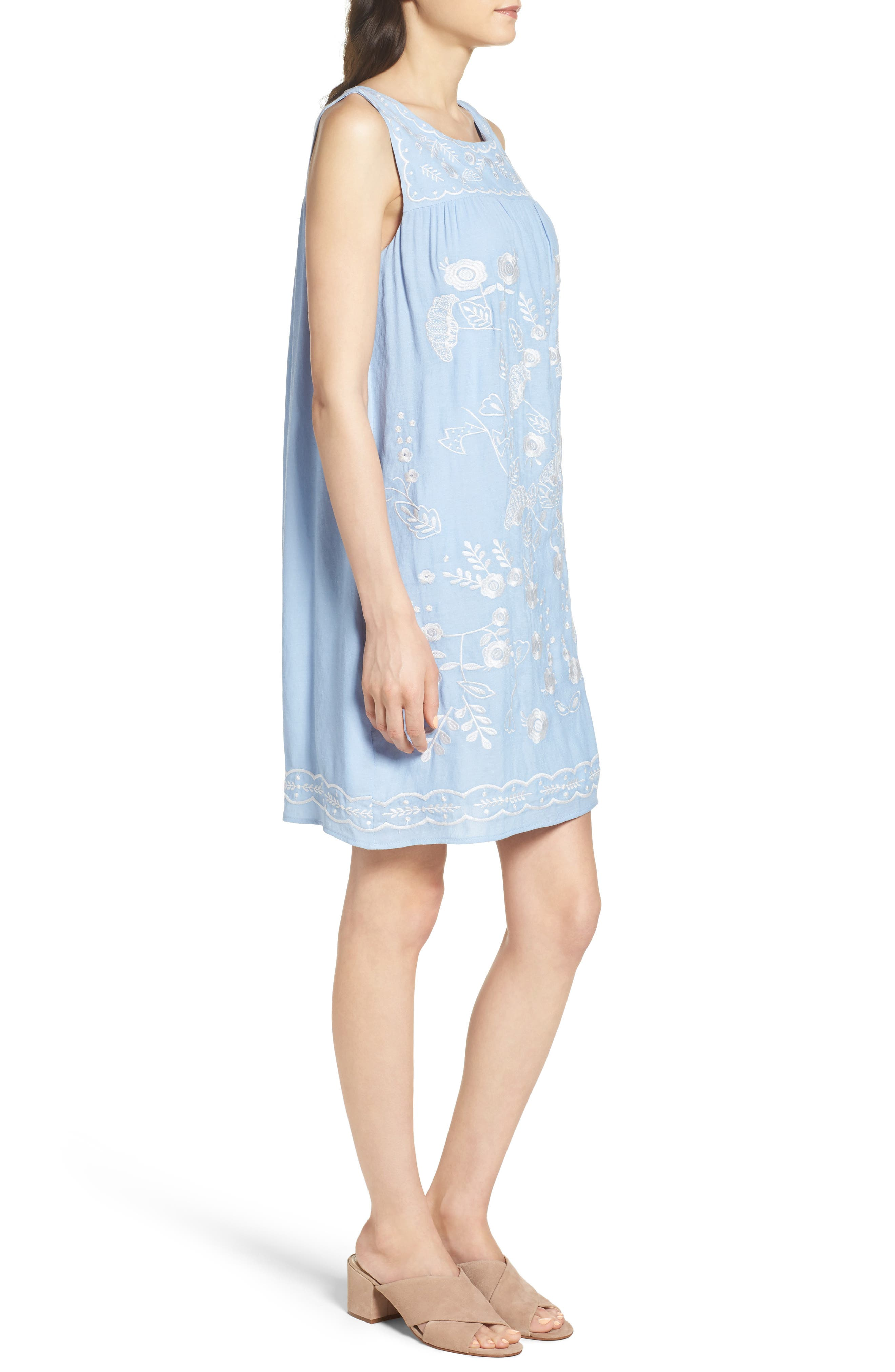 THML,                             Embroidered Babydoll Dress,                             Alternate thumbnail 3, color,                             400