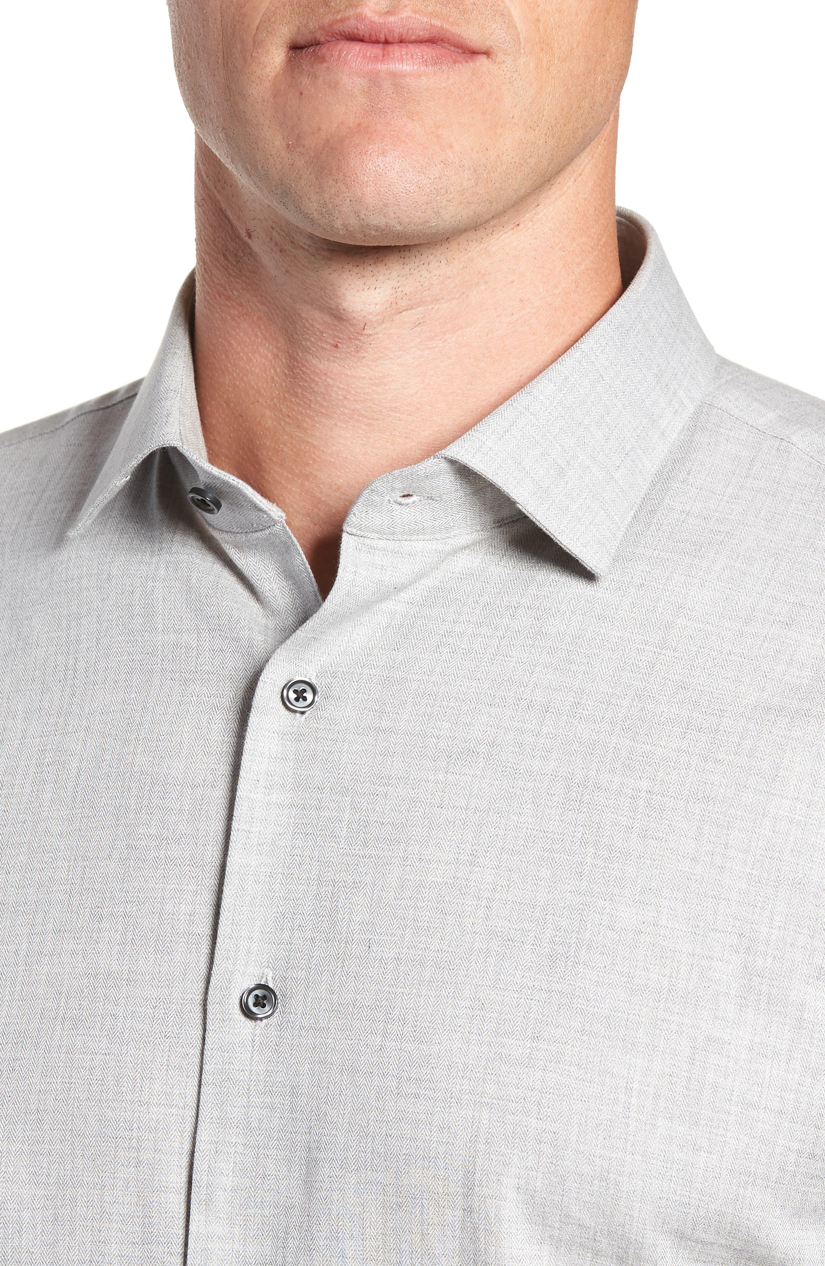 Trim Fit Herringbone Dress Shirt,                             Alternate thumbnail 2, color,                             GREY MICRO
