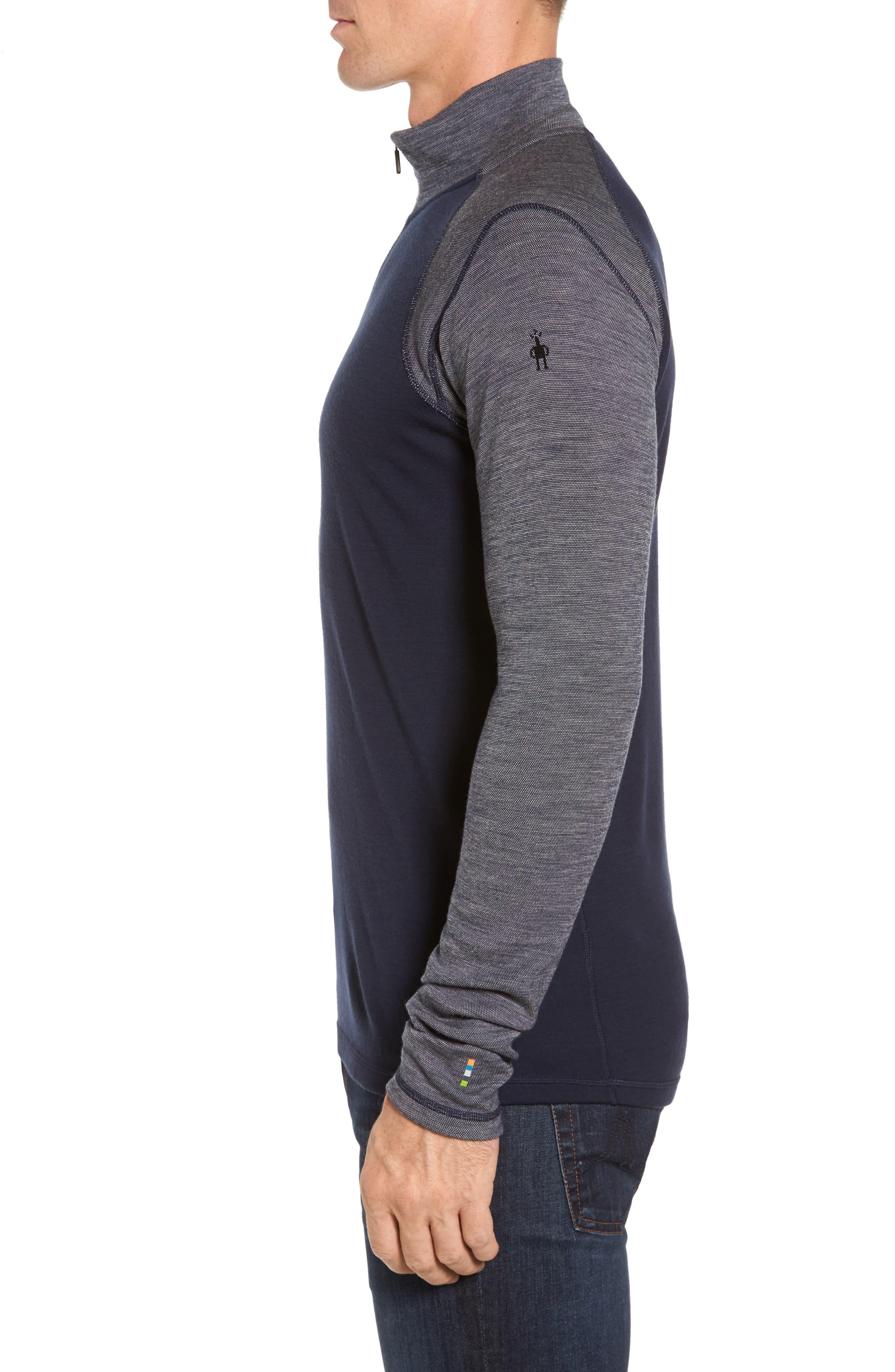 Merino 250 Base Layer Pattern Quarter Zip Pullover,                             Alternate thumbnail 3, color,                             410