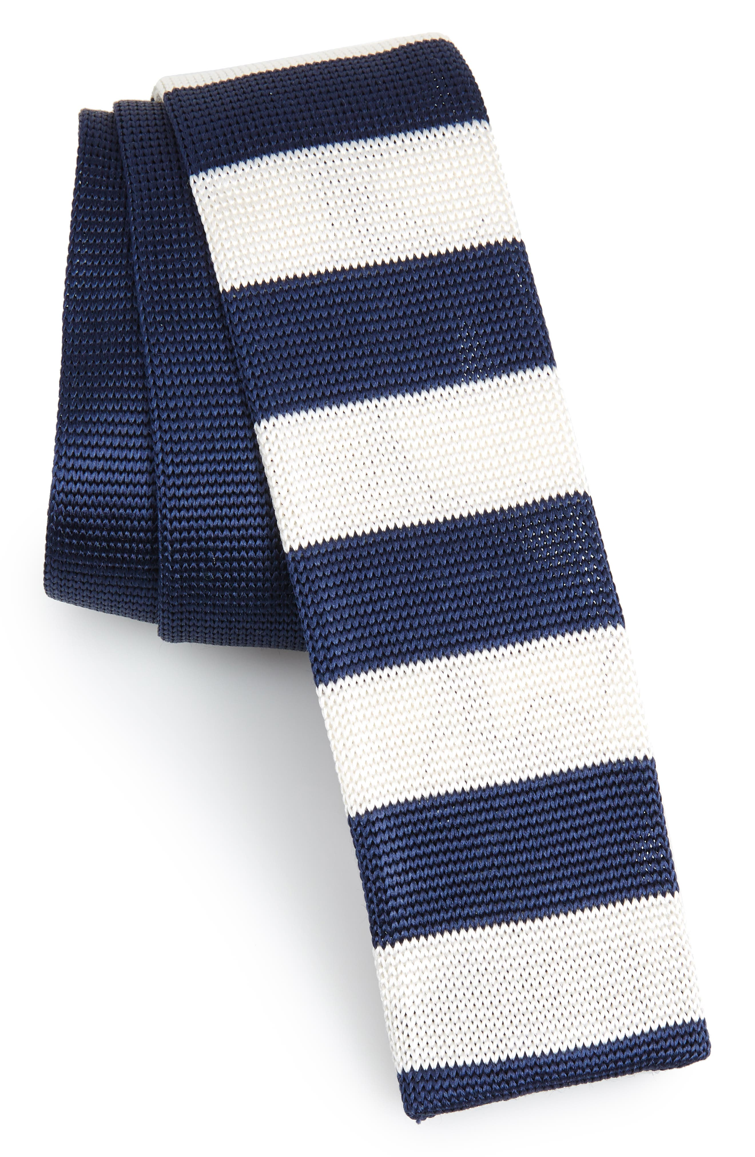 Stripe Knit Silk Skinny Tie,                         Main,                         color, NAVY