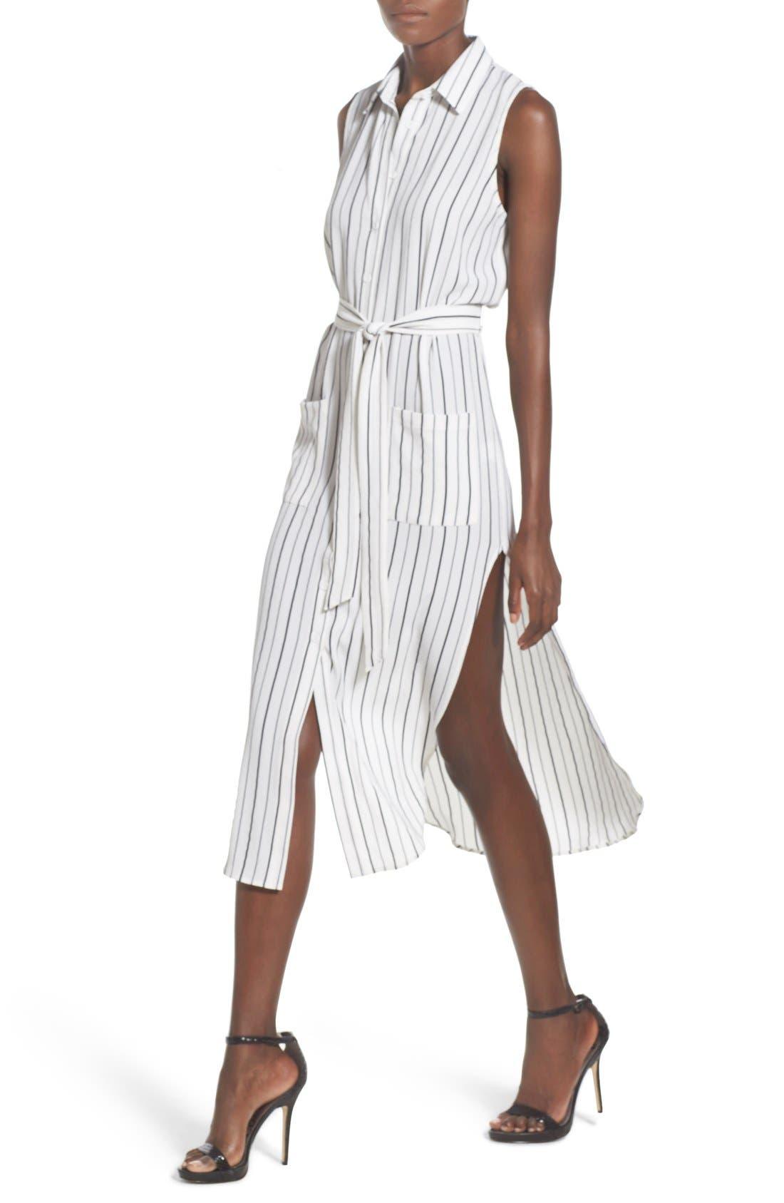 Stripe Sleeveless Midi Shirtdress,                             Alternate thumbnail 5, color,                             100