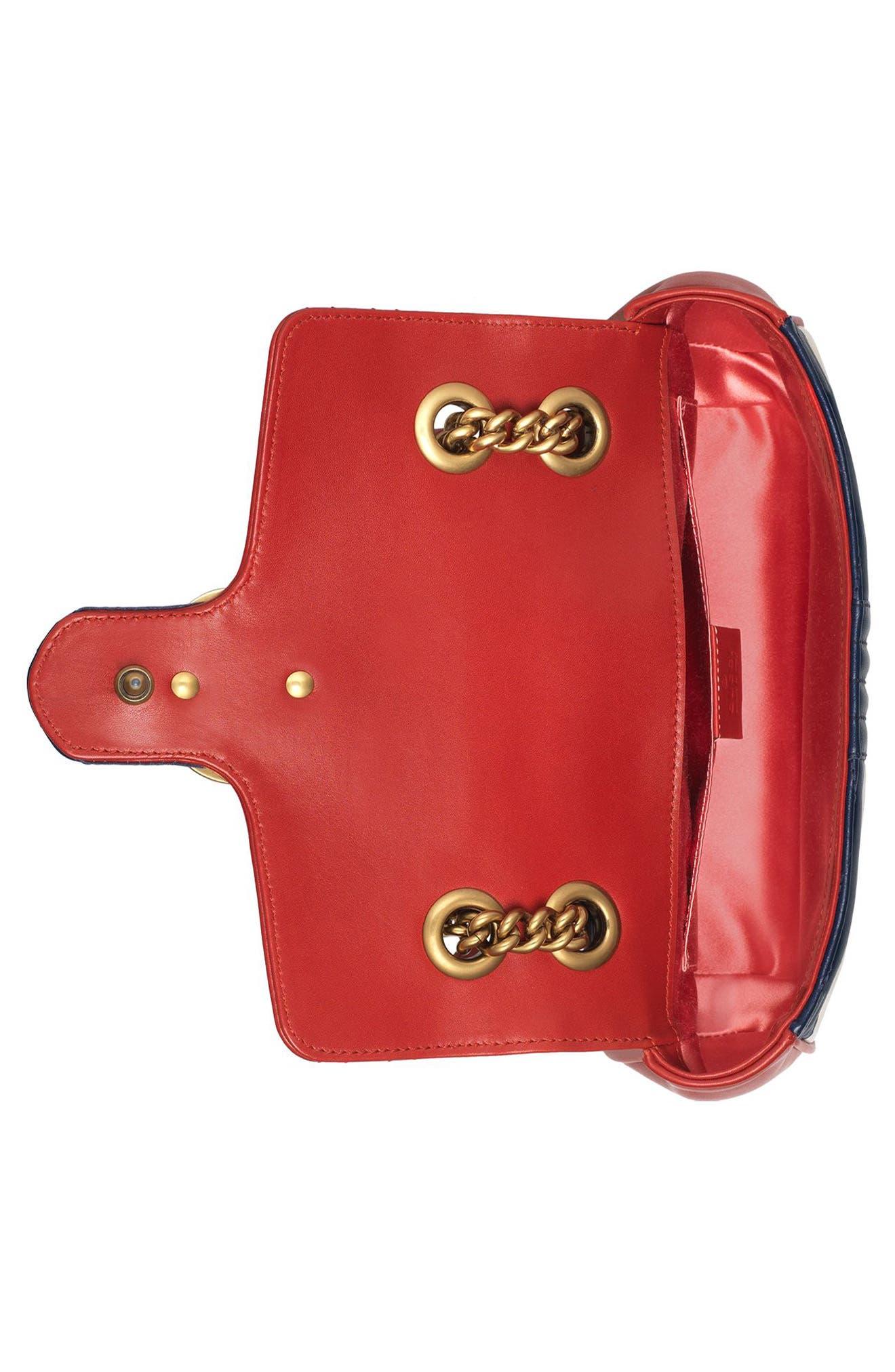 Mini GG Marmont 2.0 Tricolor Matelassé Leather Shoulder Bag,                             Alternate thumbnail 3, color,                             625