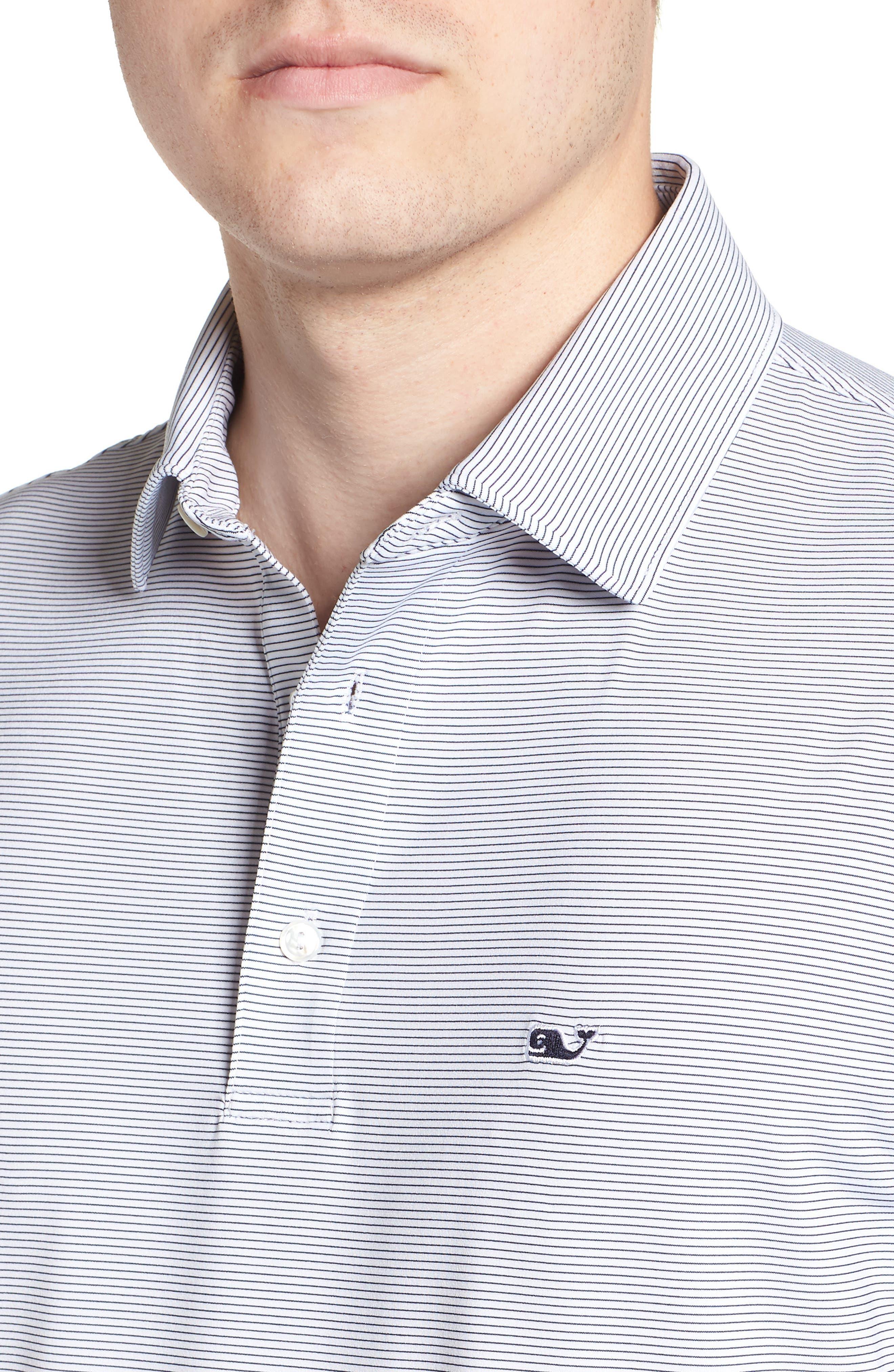 Stripe Long Sleeve Regular Fit Polo,                             Alternate thumbnail 4, color,                             100