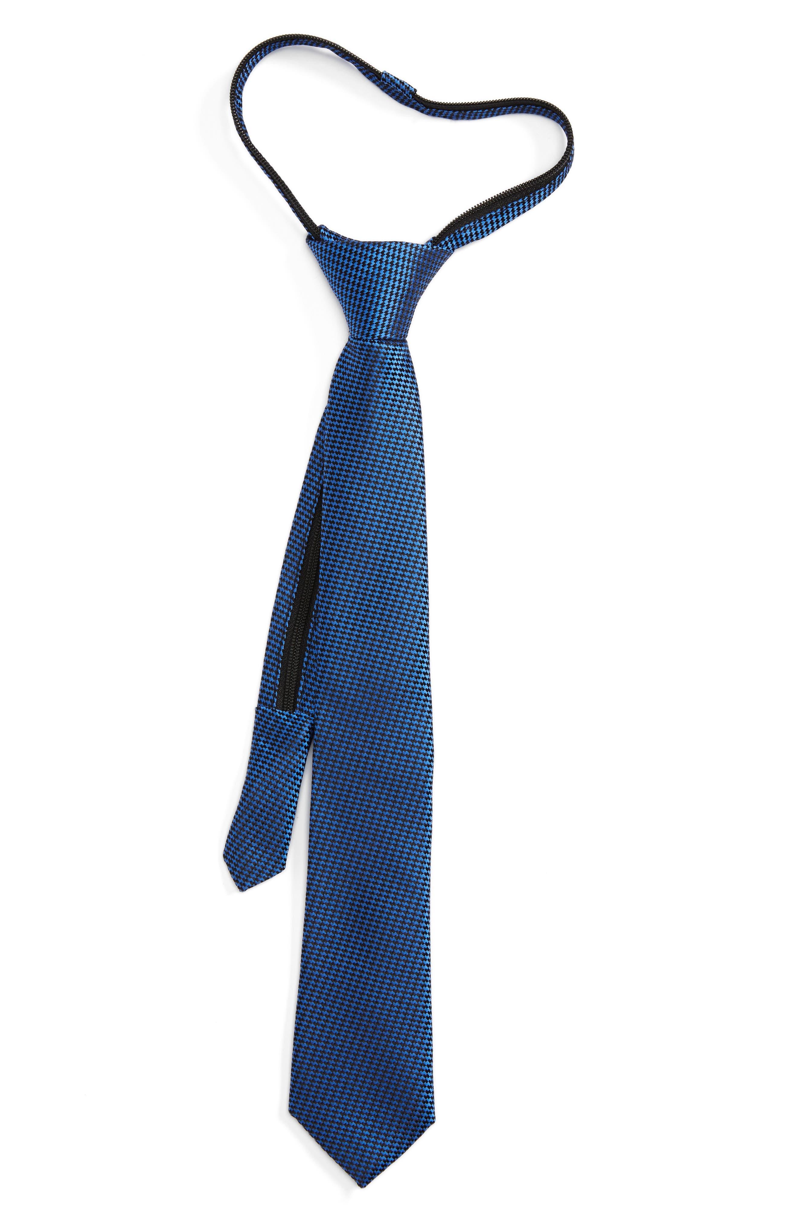 Textured Silk Zipper Tie,                         Main,                         color, 001