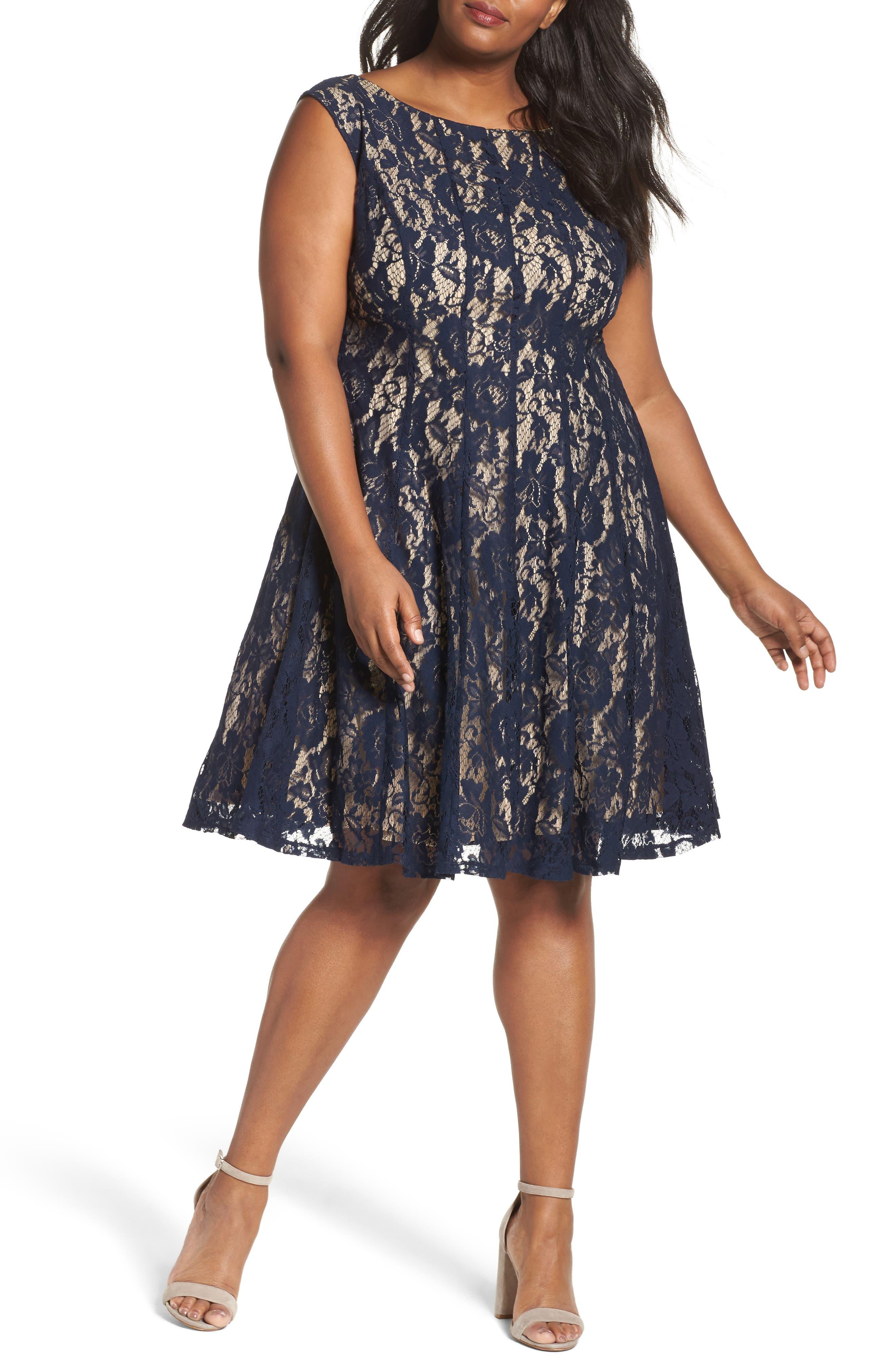 Lace Fit & Flare Dress,                         Main,                         color, 410