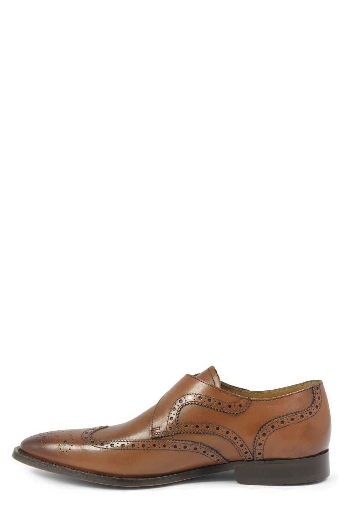 'Sabato' Wingtip Monk Strap Shoe,                             Alternate thumbnail 2, color,                             MEDIUM BROWN