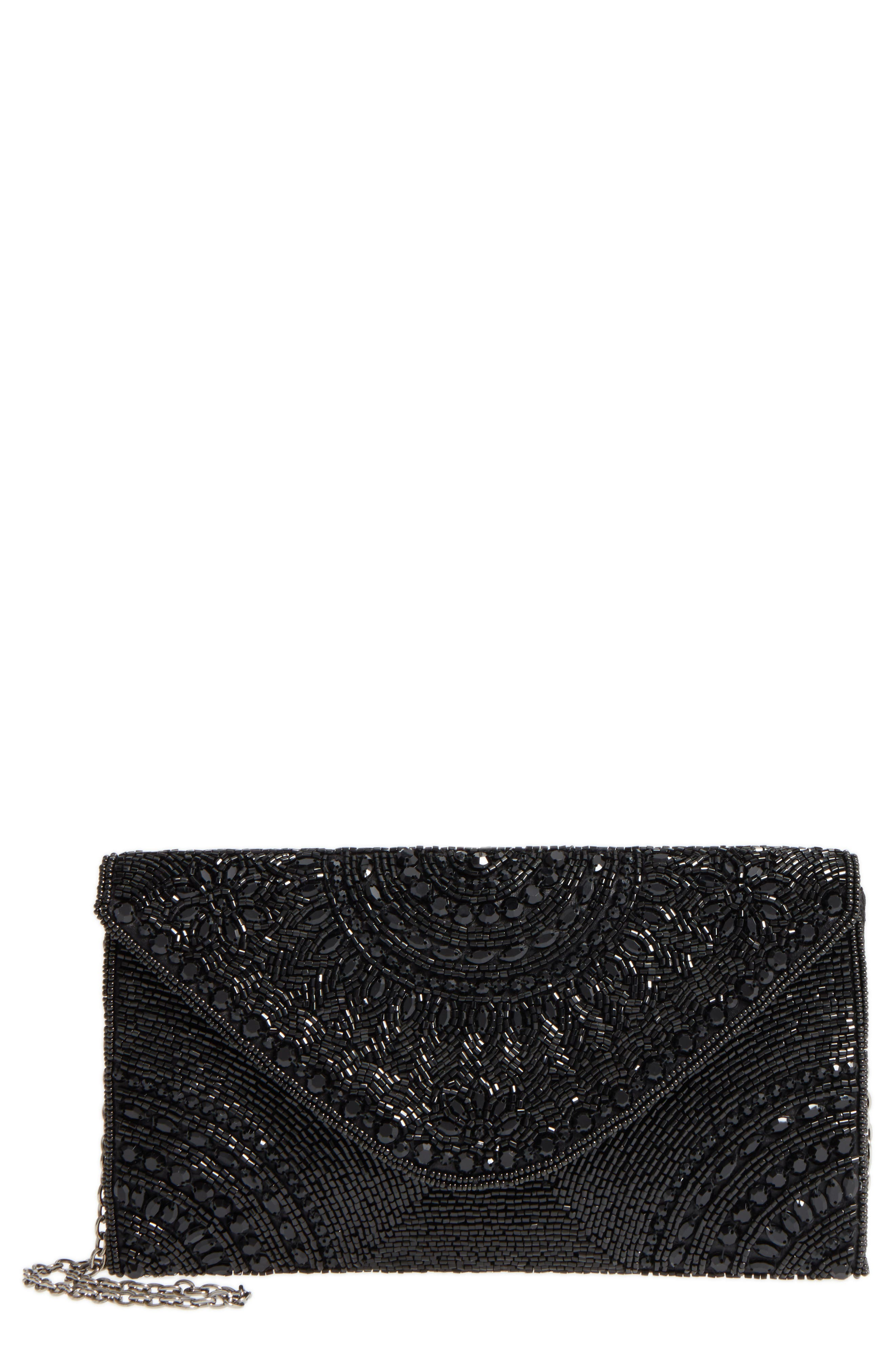 Alhambra Beaded Envelope Clutch,                         Main,                         color, BLACK
