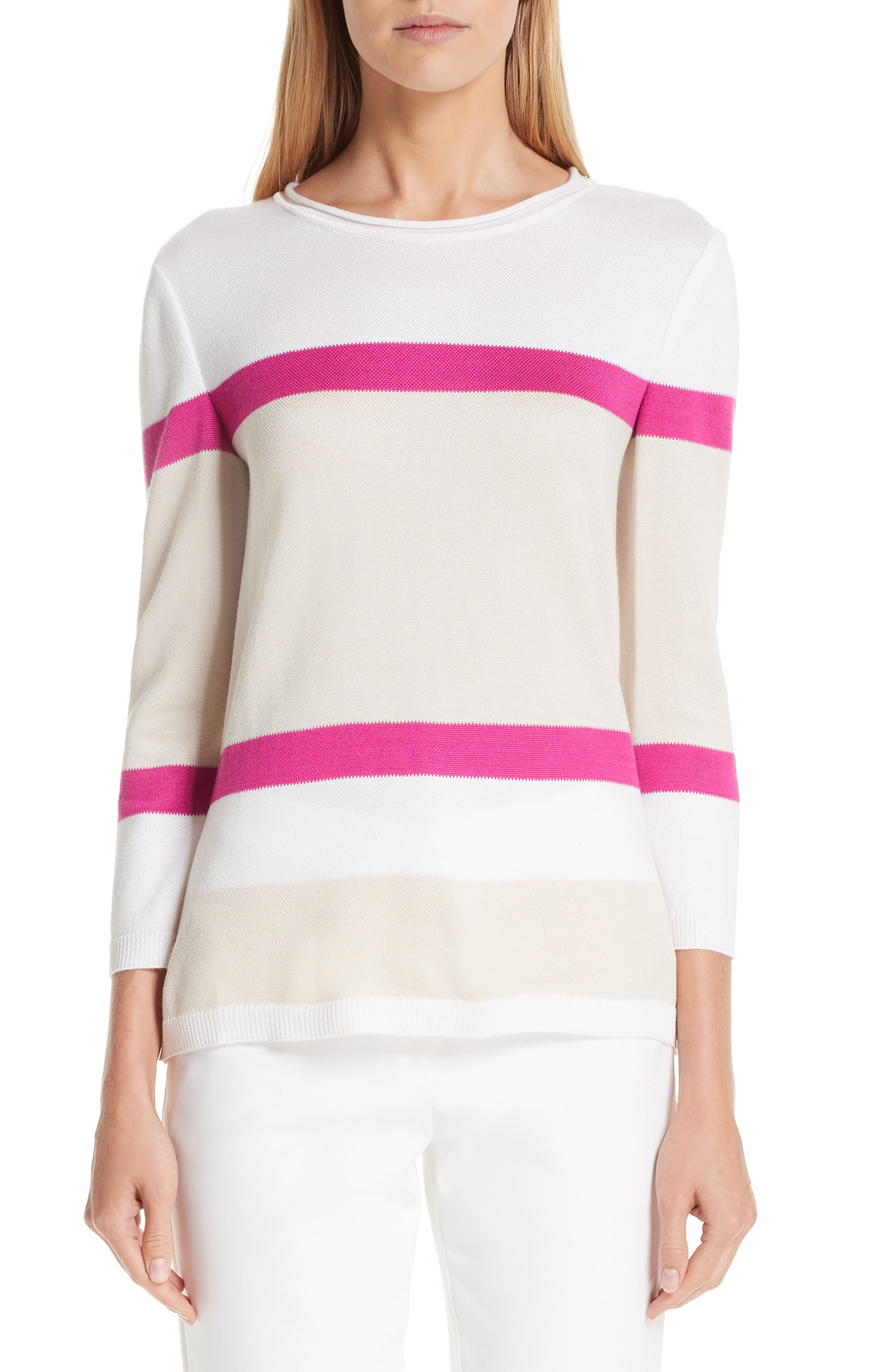 Stripe Float Jacquard Knit 3/4-Sleeve Sweater in Cream/ Oyster/ Camilla