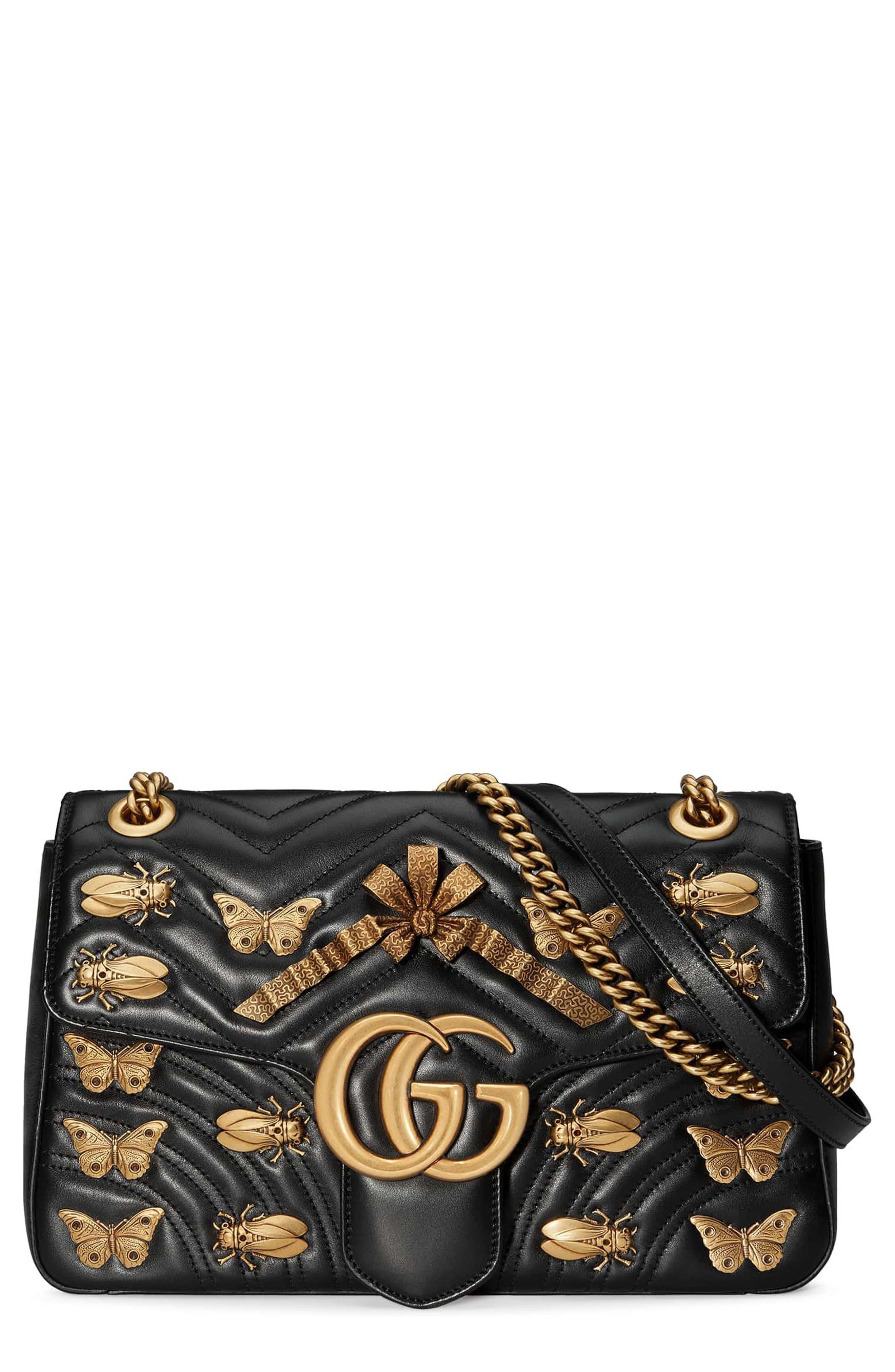 Medium GG Marmont 2.0 Animal Stud Matelassé Leather Shoulder Bag,                             Main thumbnail 1, color,                             001