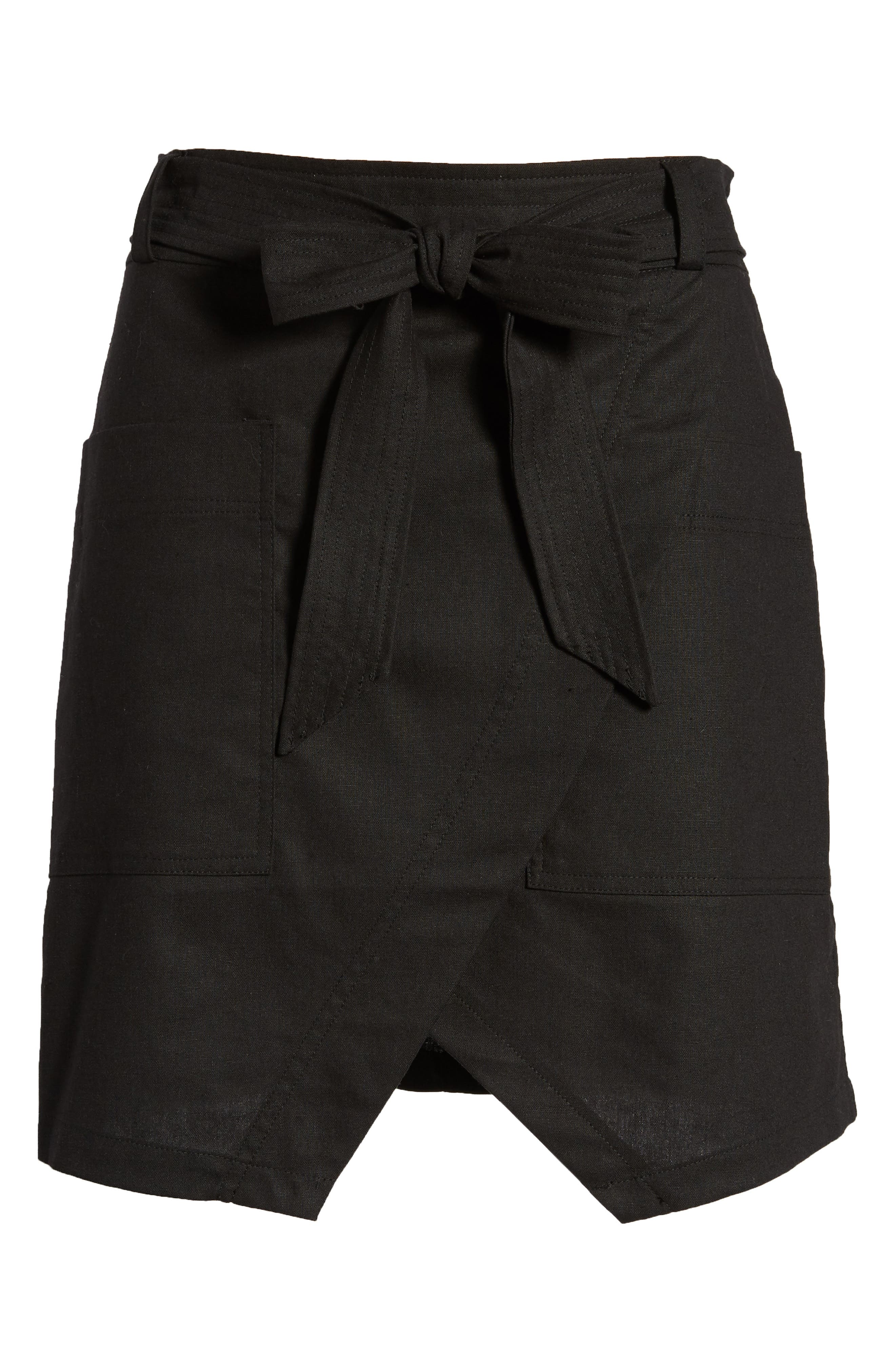 BISHOP + YOUNG,                             Tie Front Wrap Style Skirt,                             Alternate thumbnail 6, color,                             001
