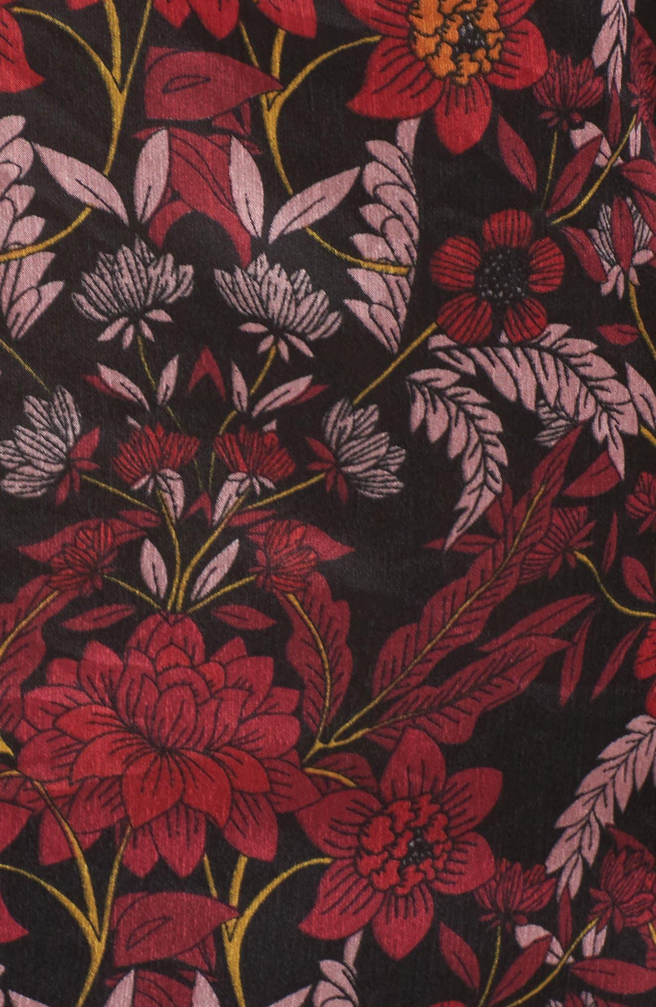 Floral Tie-Neck Blouse,                             Alternate thumbnail 5, color,                             930
