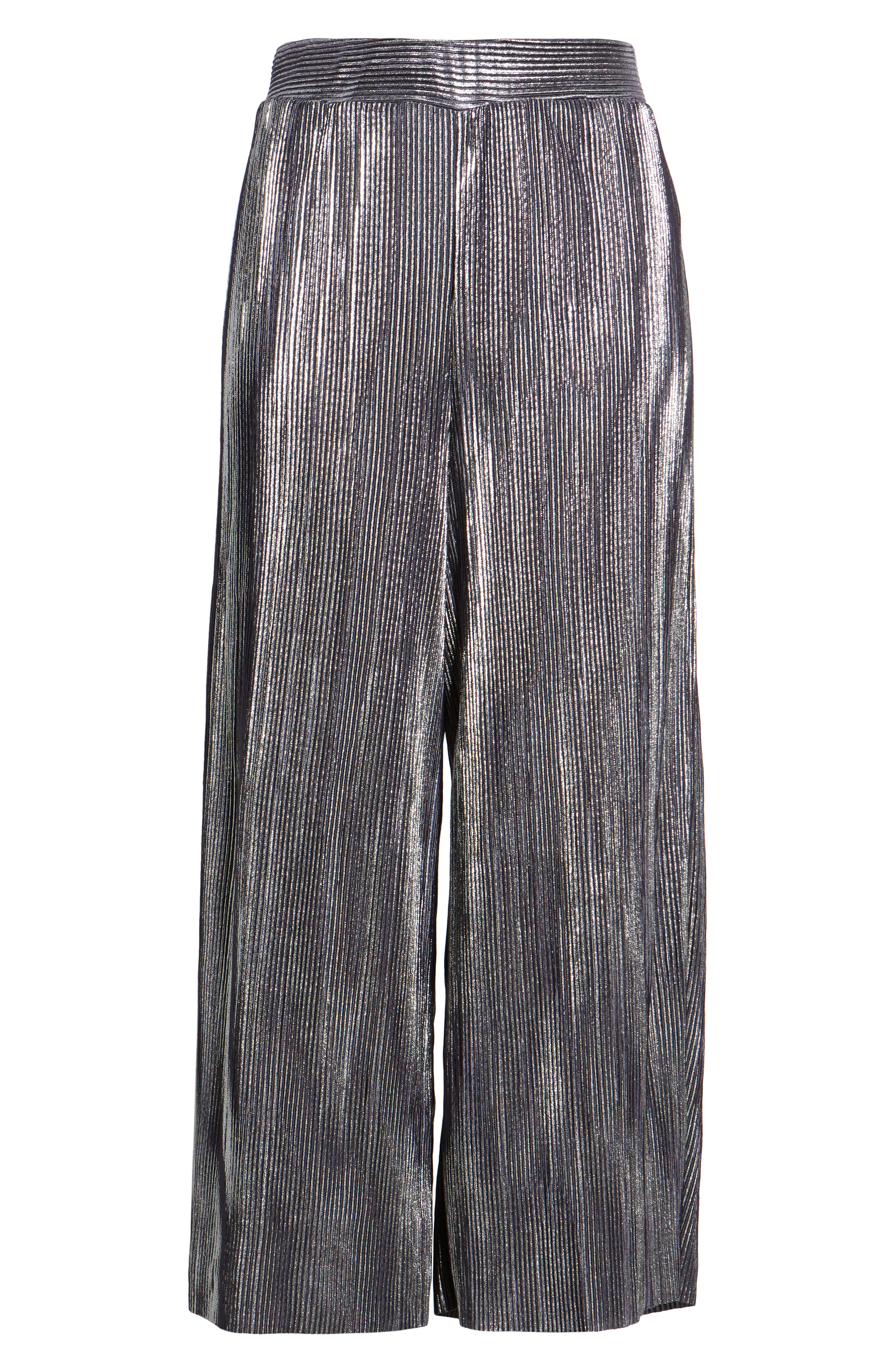 Metallic Pleated Crop Pants,                             Alternate thumbnail 6, color,                             046