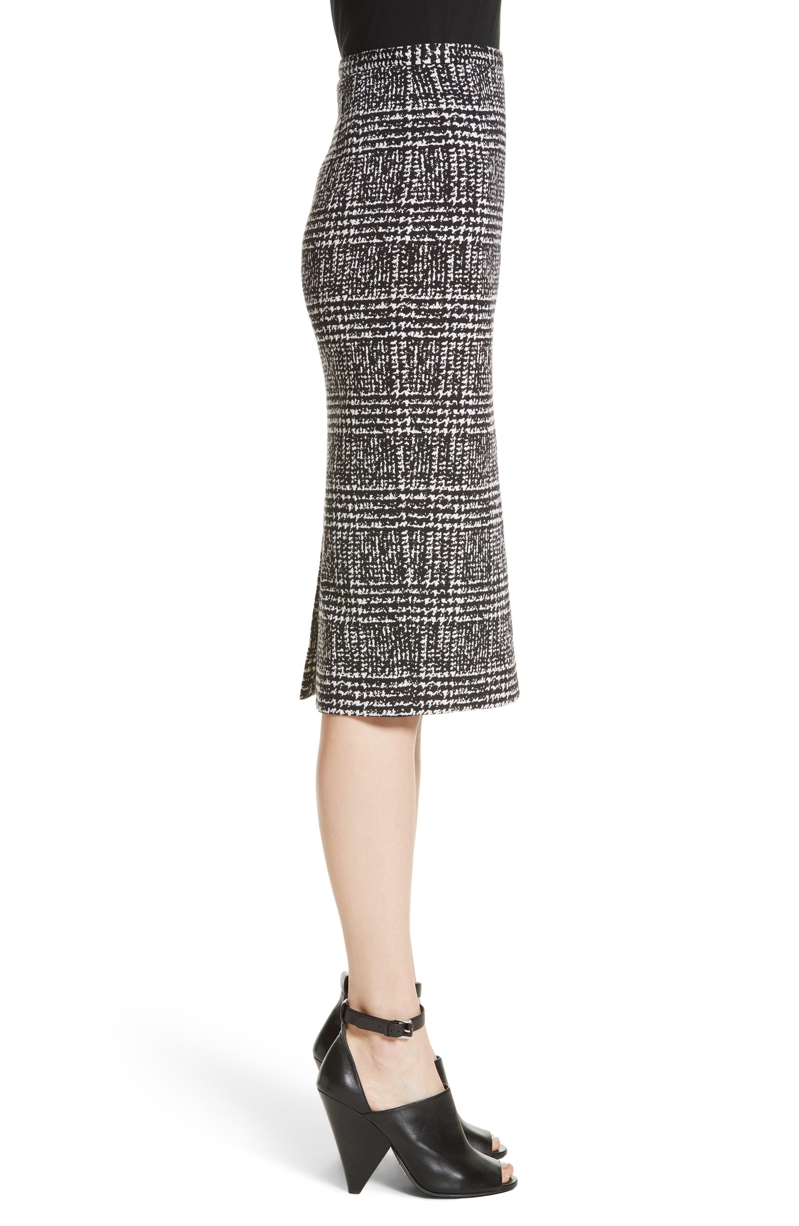 Glen Plaid Stretch Jacquard Skirt,                             Alternate thumbnail 3, color,                             001
