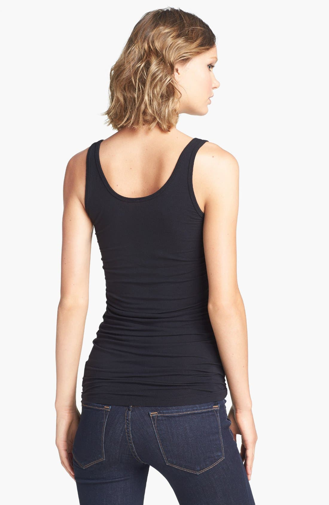 Scoop Neck Stretch Tank,                             Alternate thumbnail 8, color,                             001