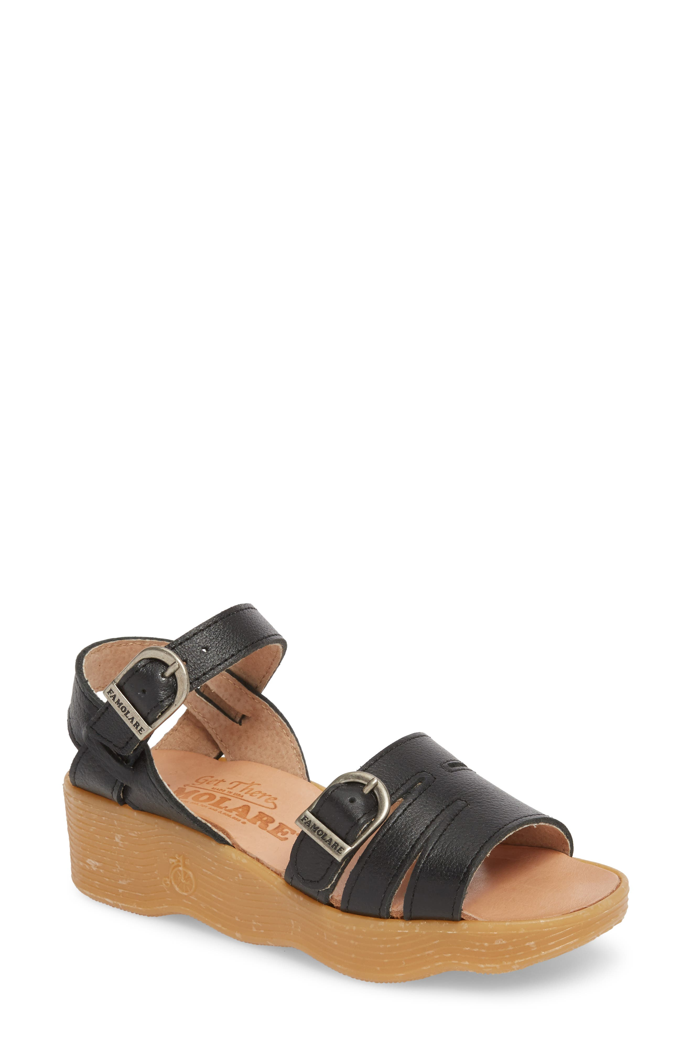 Honeybuckle Wedge Sandal,                         Main,                         color, COAL LEATHER
