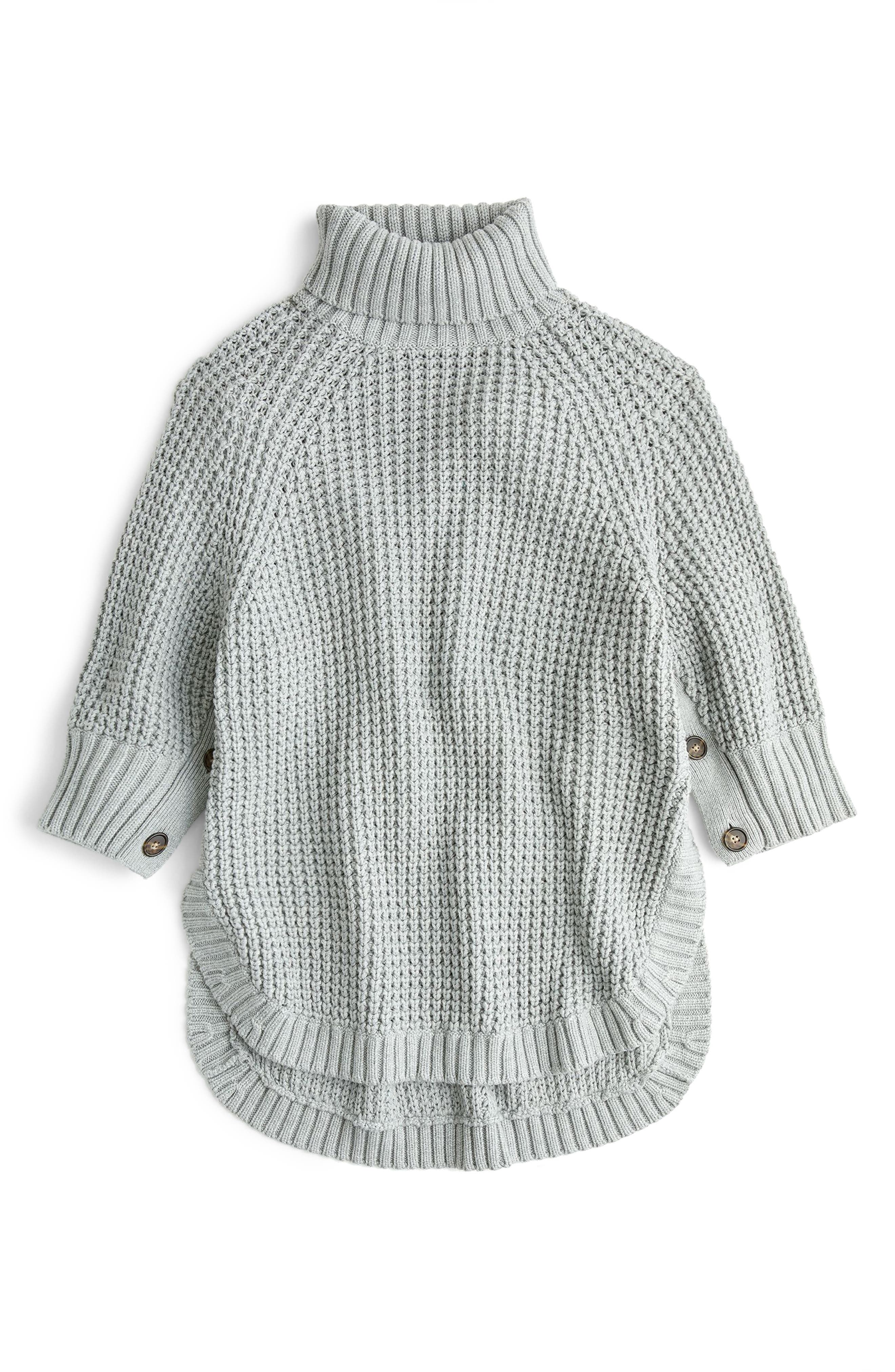 Button Sleeve Turtleneck Poncho, Main, color, 020