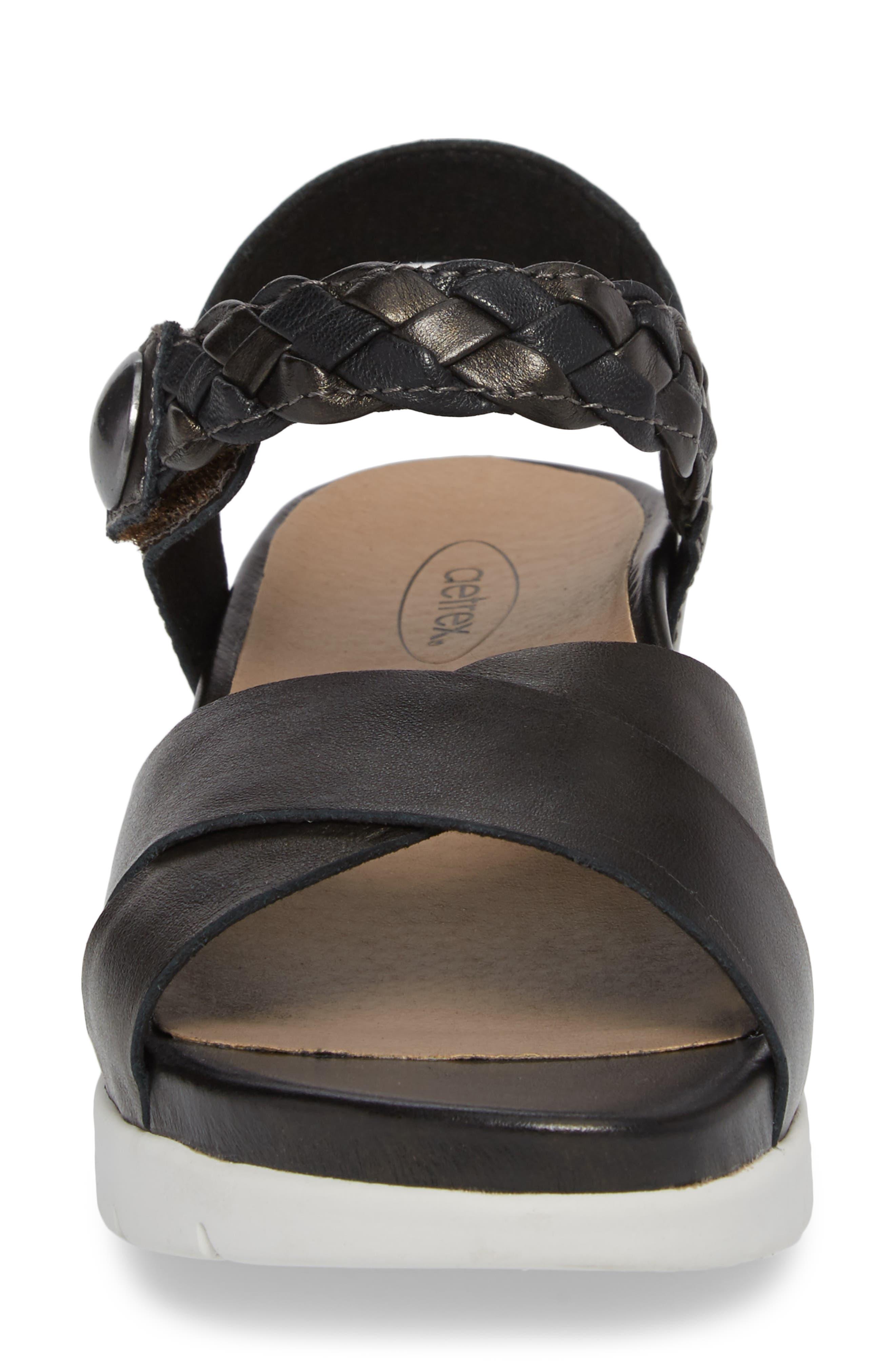 Piper Sandal,                             Alternate thumbnail 4, color,                             BLACK LEATHER