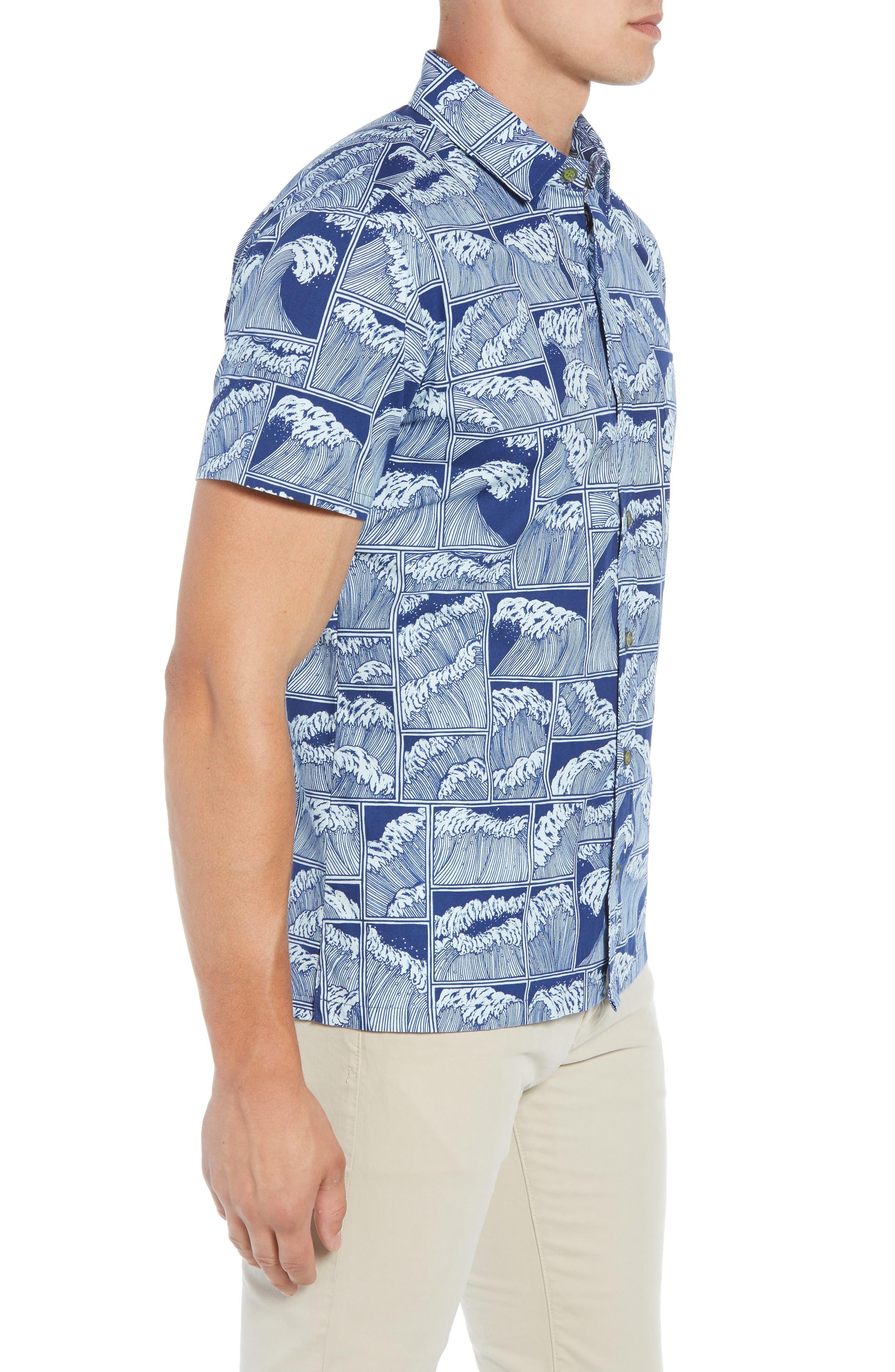 King Tide Trim Fit Sport Shirt,                             Alternate thumbnail 3, color,                             NAVY