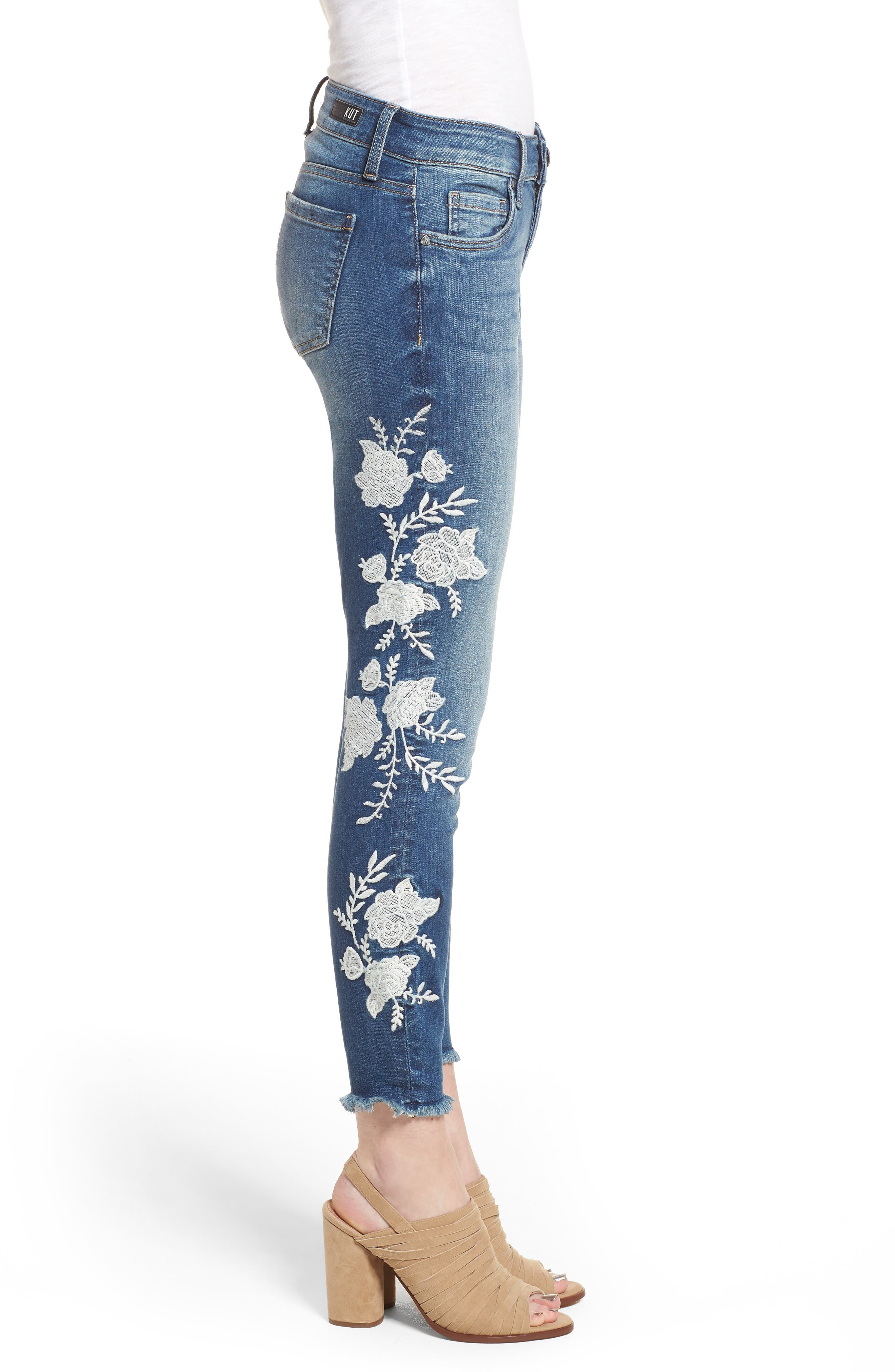 KUT from the Kloth Connie Embroidered Skinny Jeans,                             Alternate thumbnail 3, color,                             400
