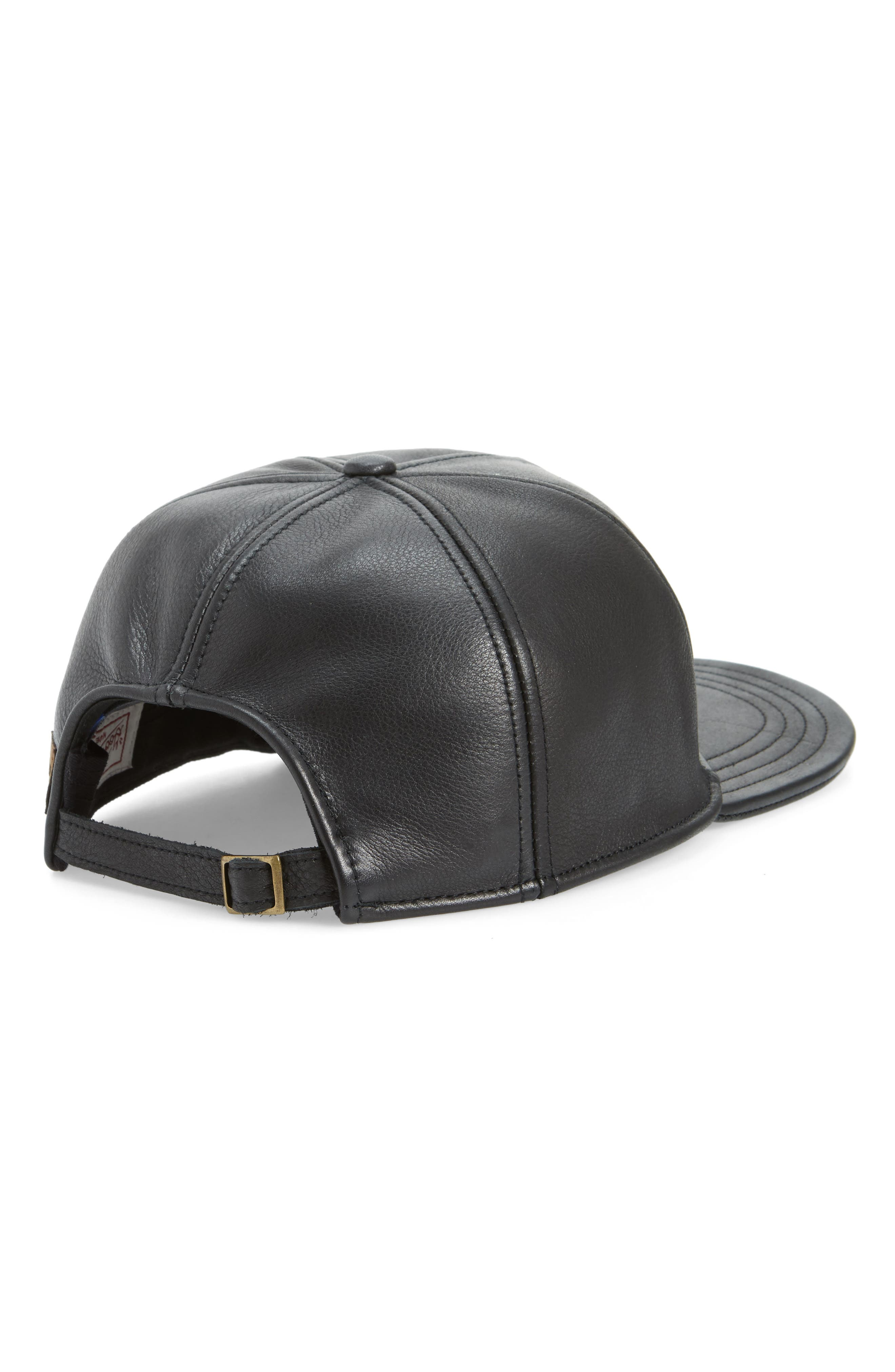 Corner Pocket Leather Baseball Cap,                             Alternate thumbnail 2, color,                             BLACK