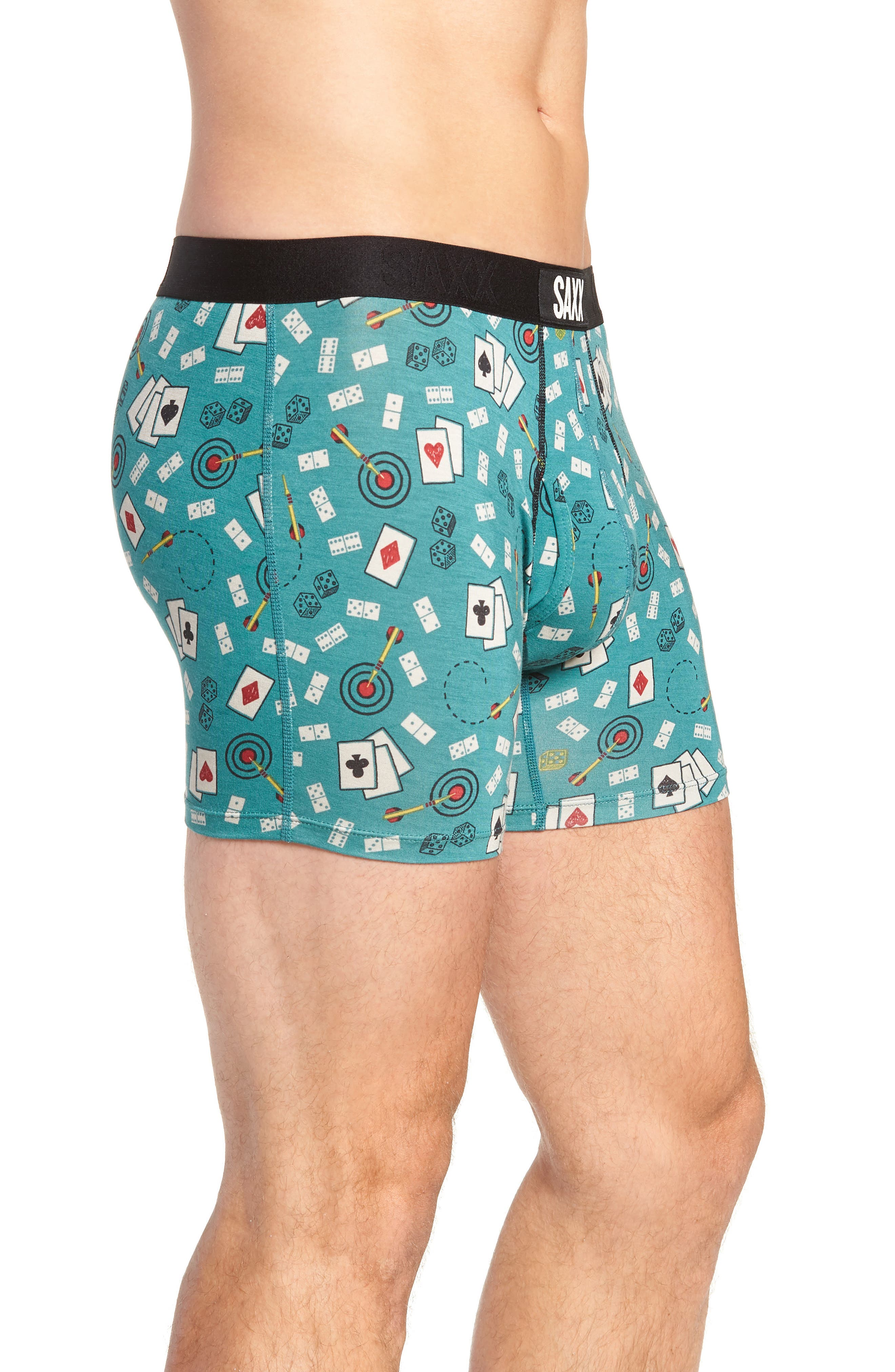 Ultra Bar Sports Stretch Boxers,                             Alternate thumbnail 3, color,                             GREEN BAR SPORTS