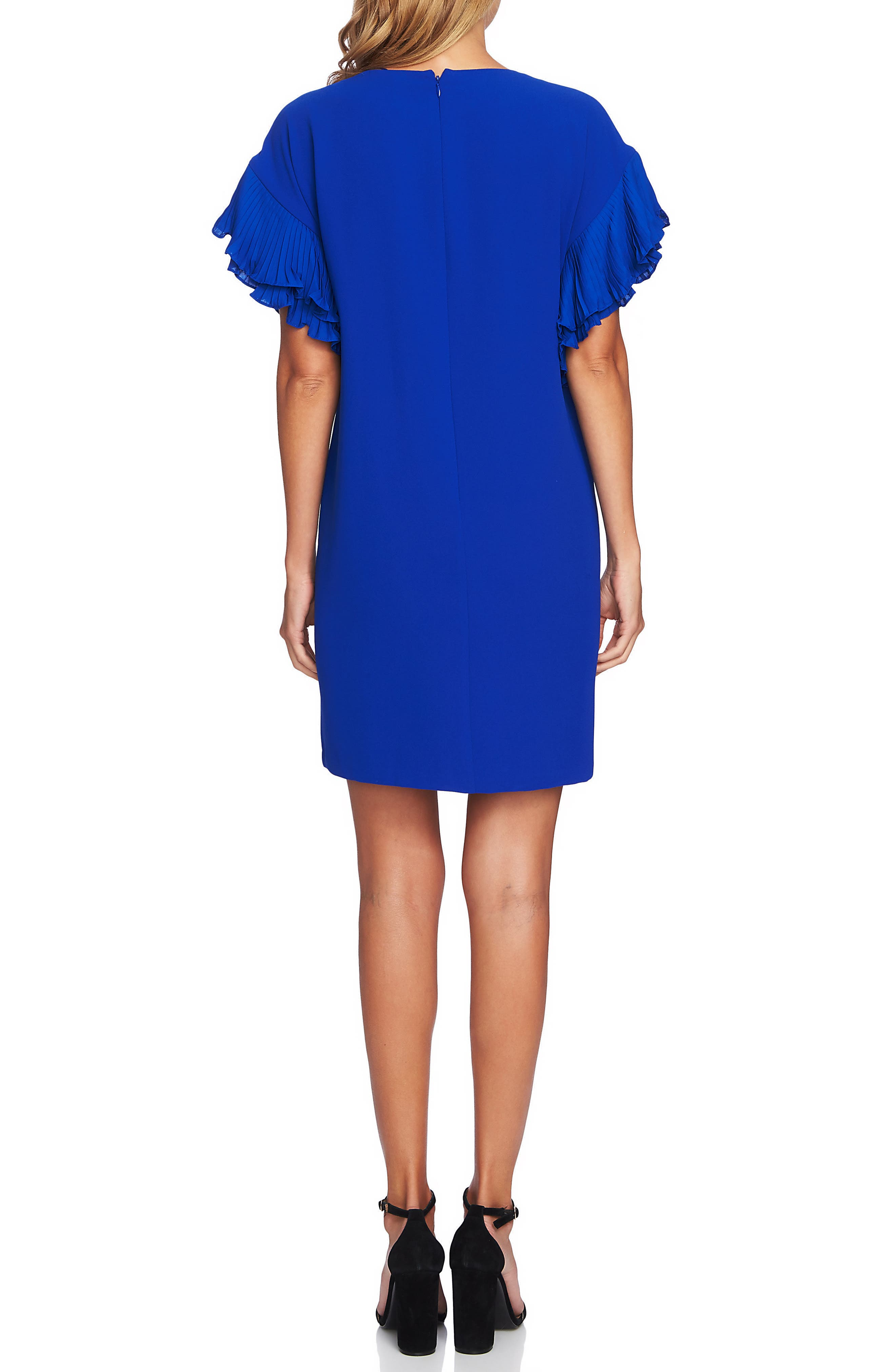 Tiered Pleated Crepe Shift Dress,                             Alternate thumbnail 2, color,                             COBALT