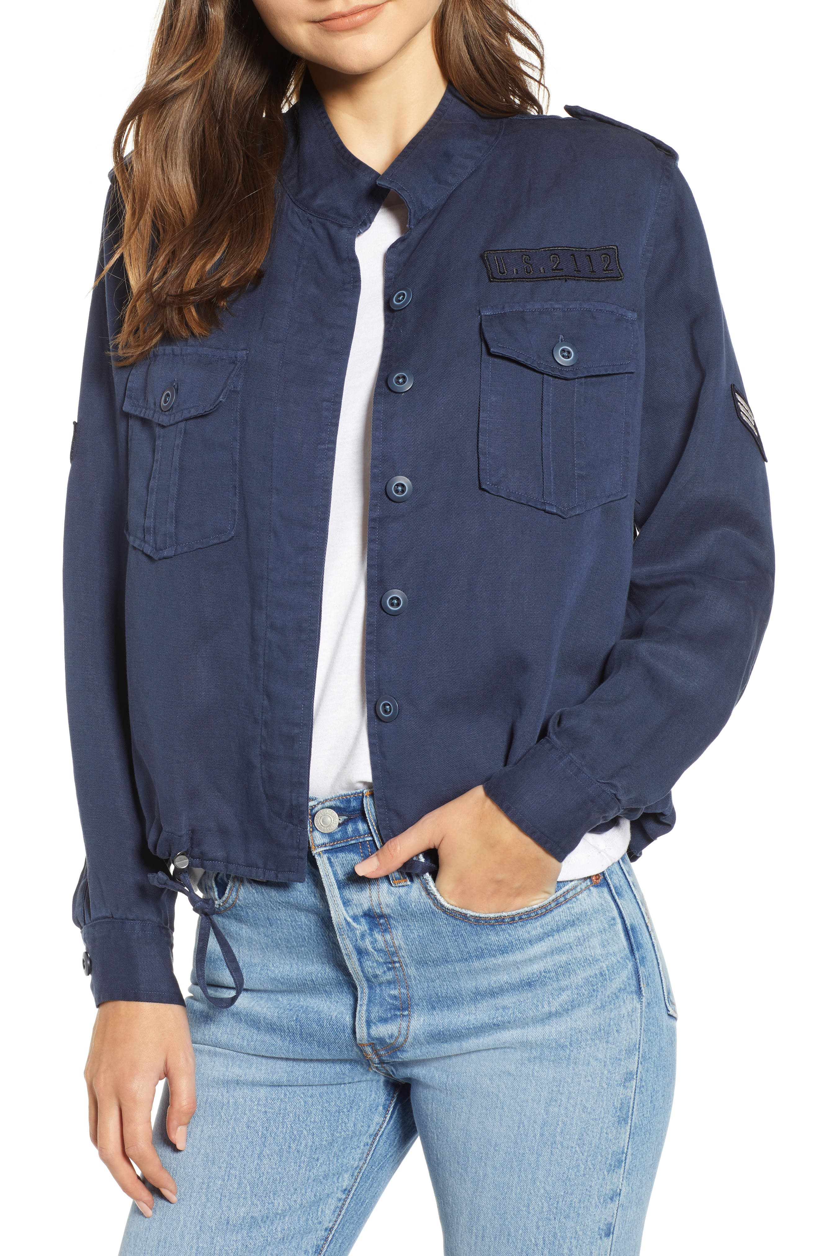 Grant Star-Print Button-Front Military Jacket in Indigo