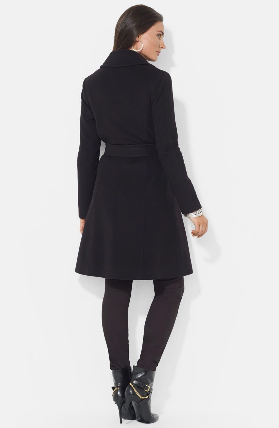 LAUREN RALPH LAUREN,                             Wool Blend Wrap Coat,                             Alternate thumbnail 2, color,                             BLACK