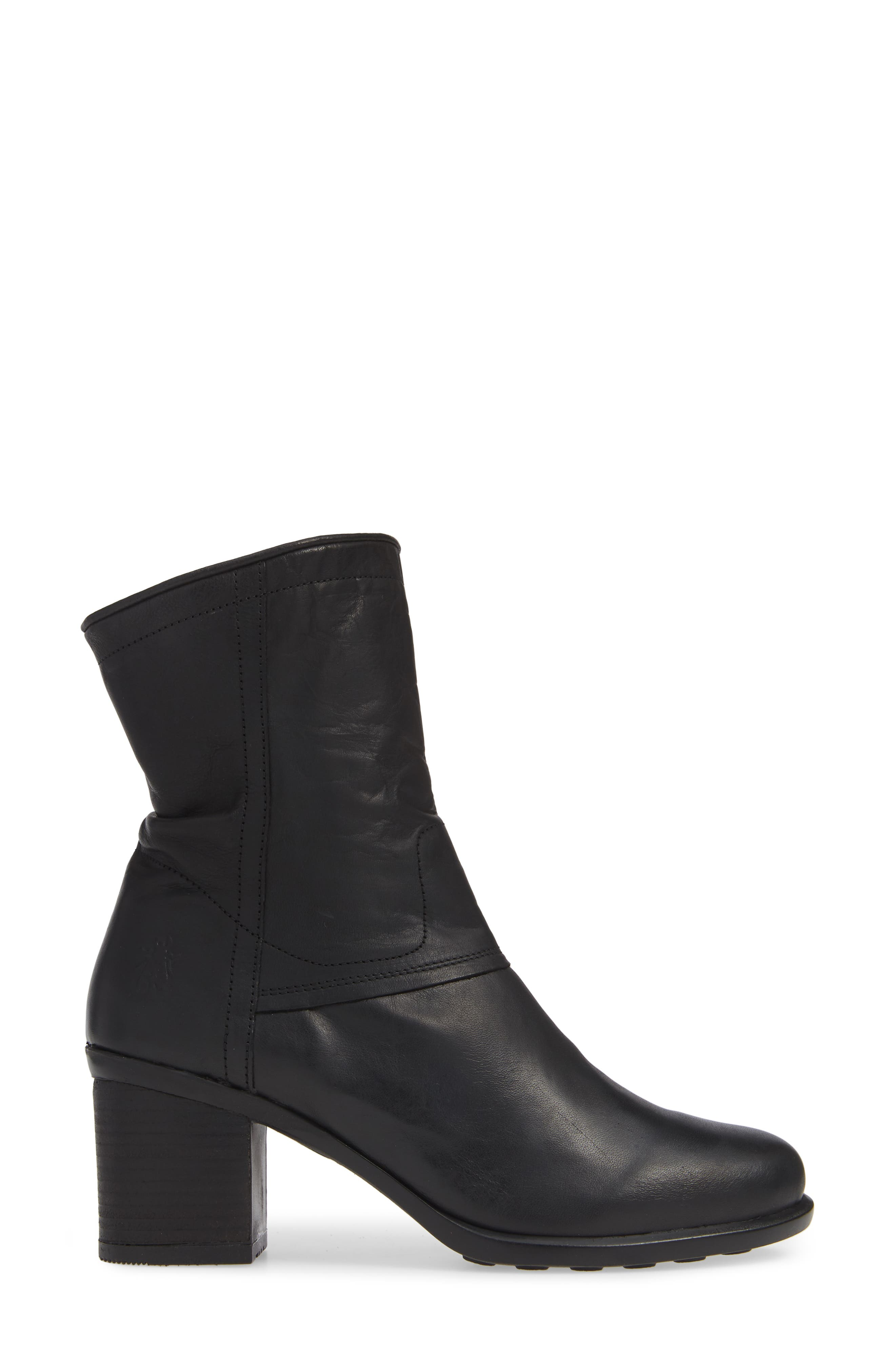 Ital Slightly Slouchy Bootie,                             Alternate thumbnail 3, color,                             BLACK