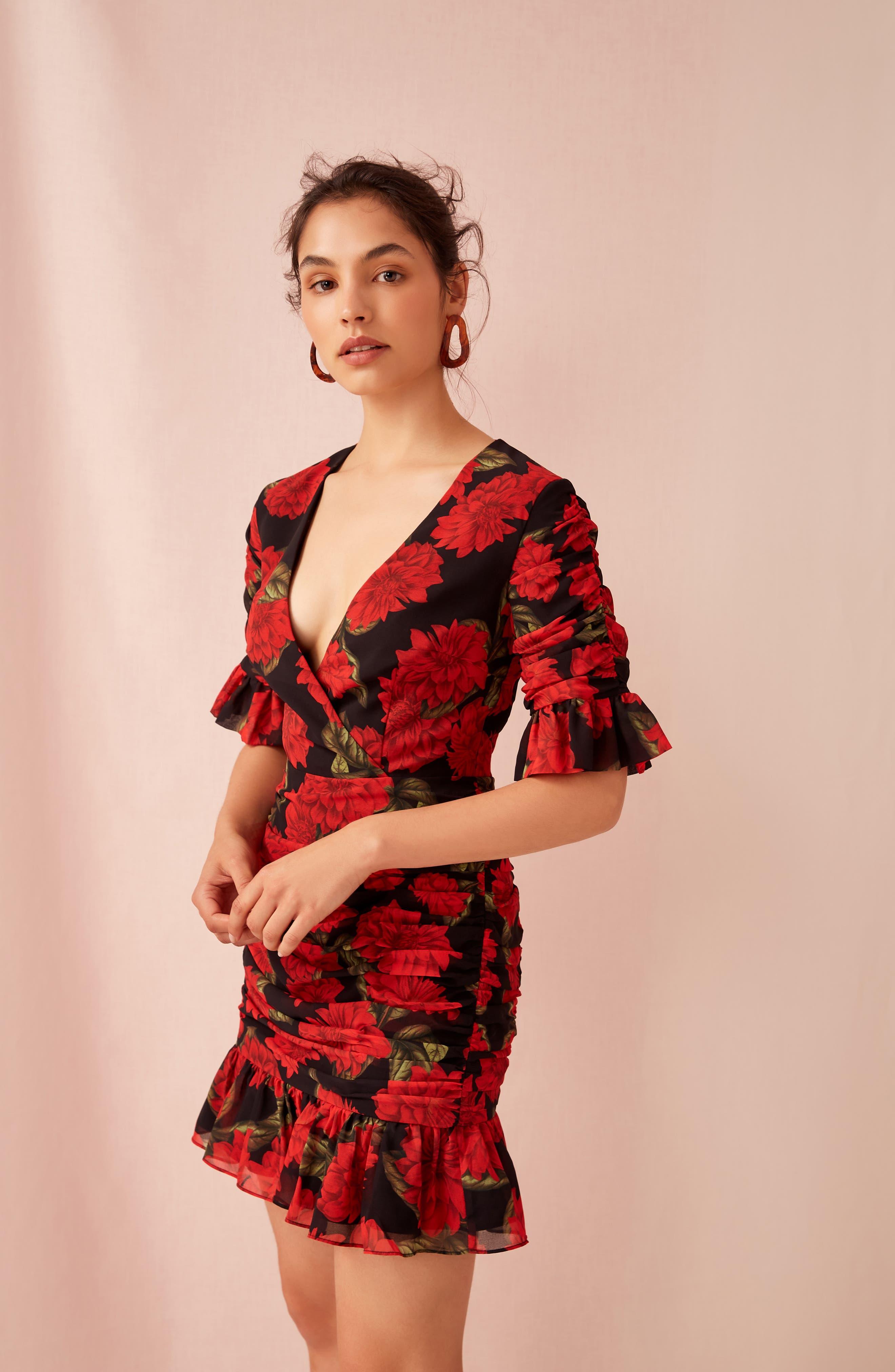 Find You Floral Dress,                             Alternate thumbnail 8, color,                             BLACK DAHLIA